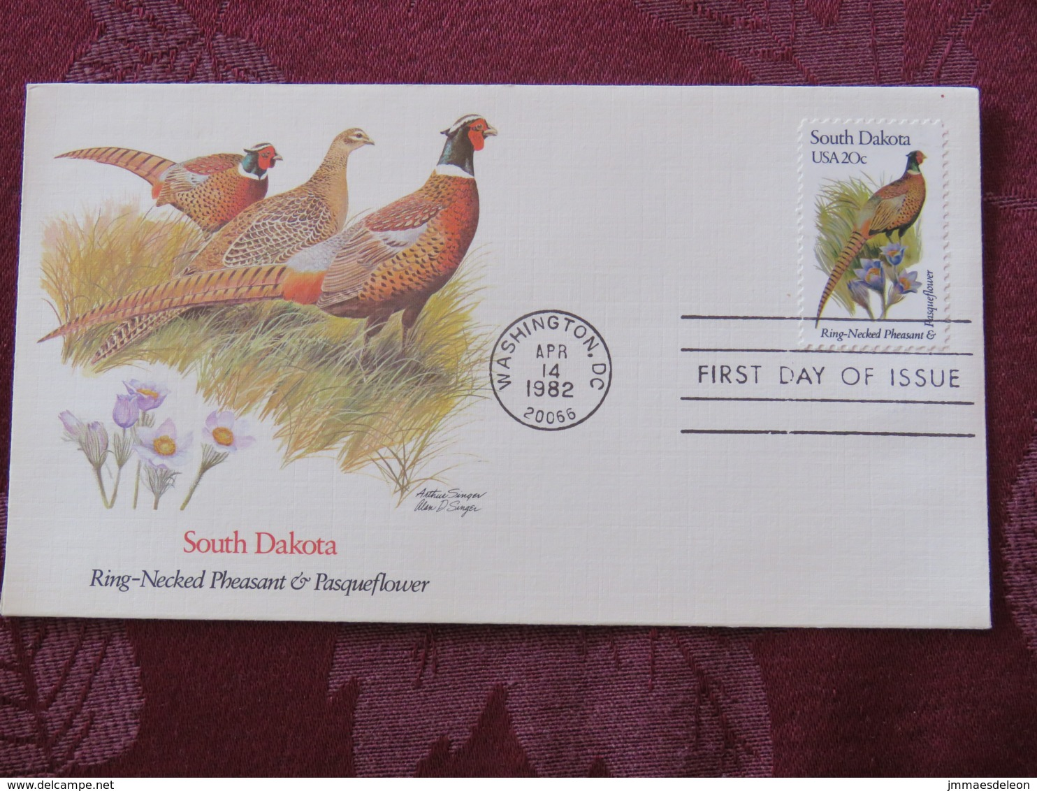 USA 1982 FDC Cover Washington - South Dakota State Bird And Flower - Pheasant - Pasqueflower - Lettres & Documents