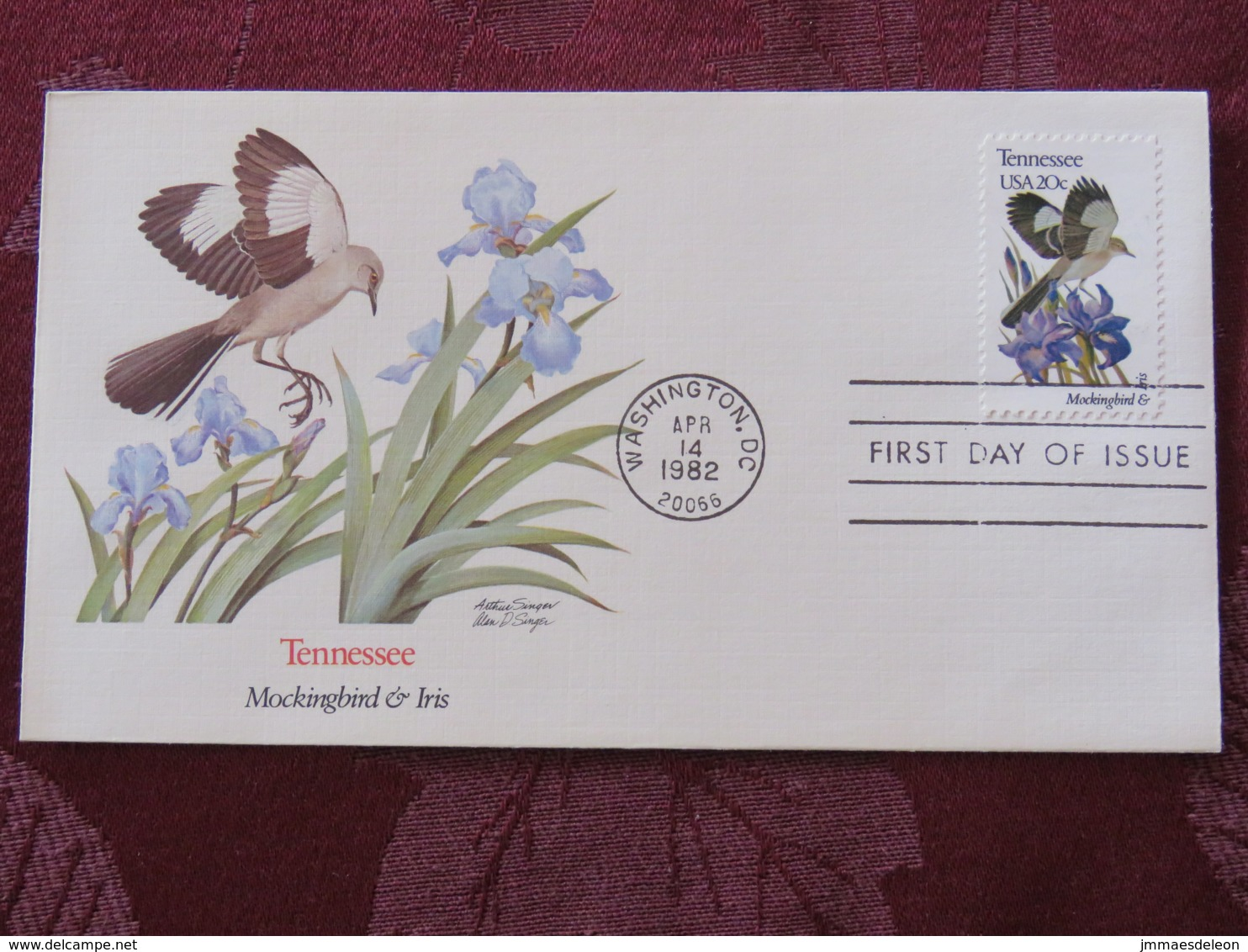 USA 1982 FDC Cover Washington - Tennessee State Bird And Flower - Iris - Lettres & Documents