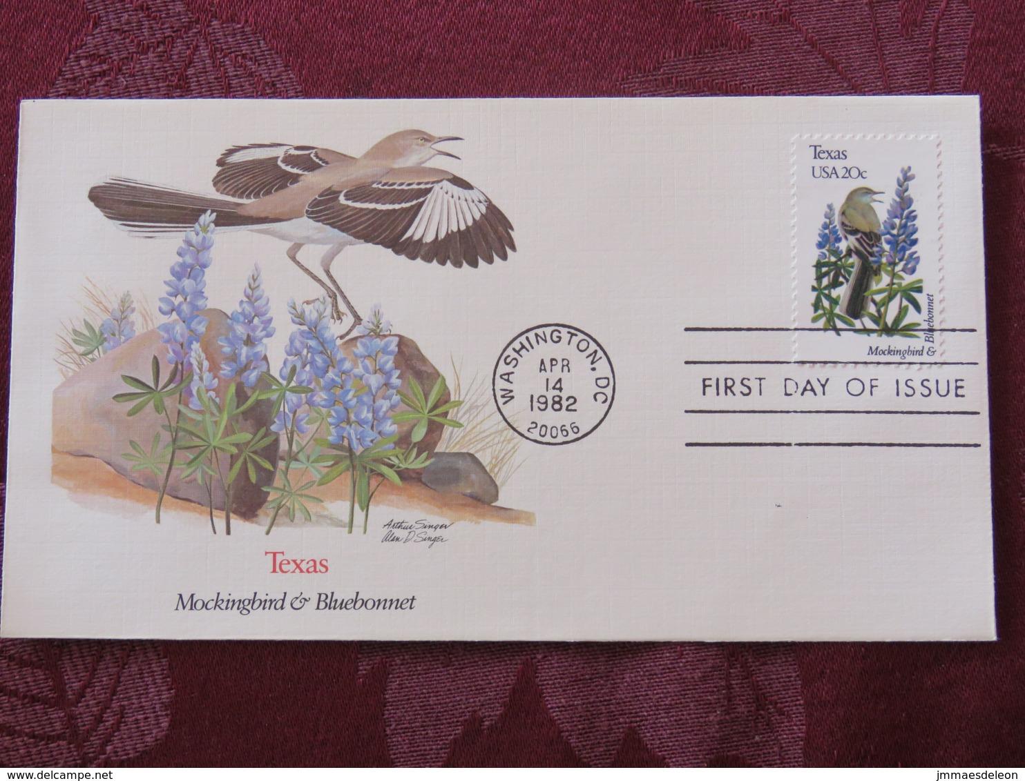USA 1982 FDC Cover Washington - Texas State Bird And Flower - Mockingbird - Bluebonnet - Etats-Unis