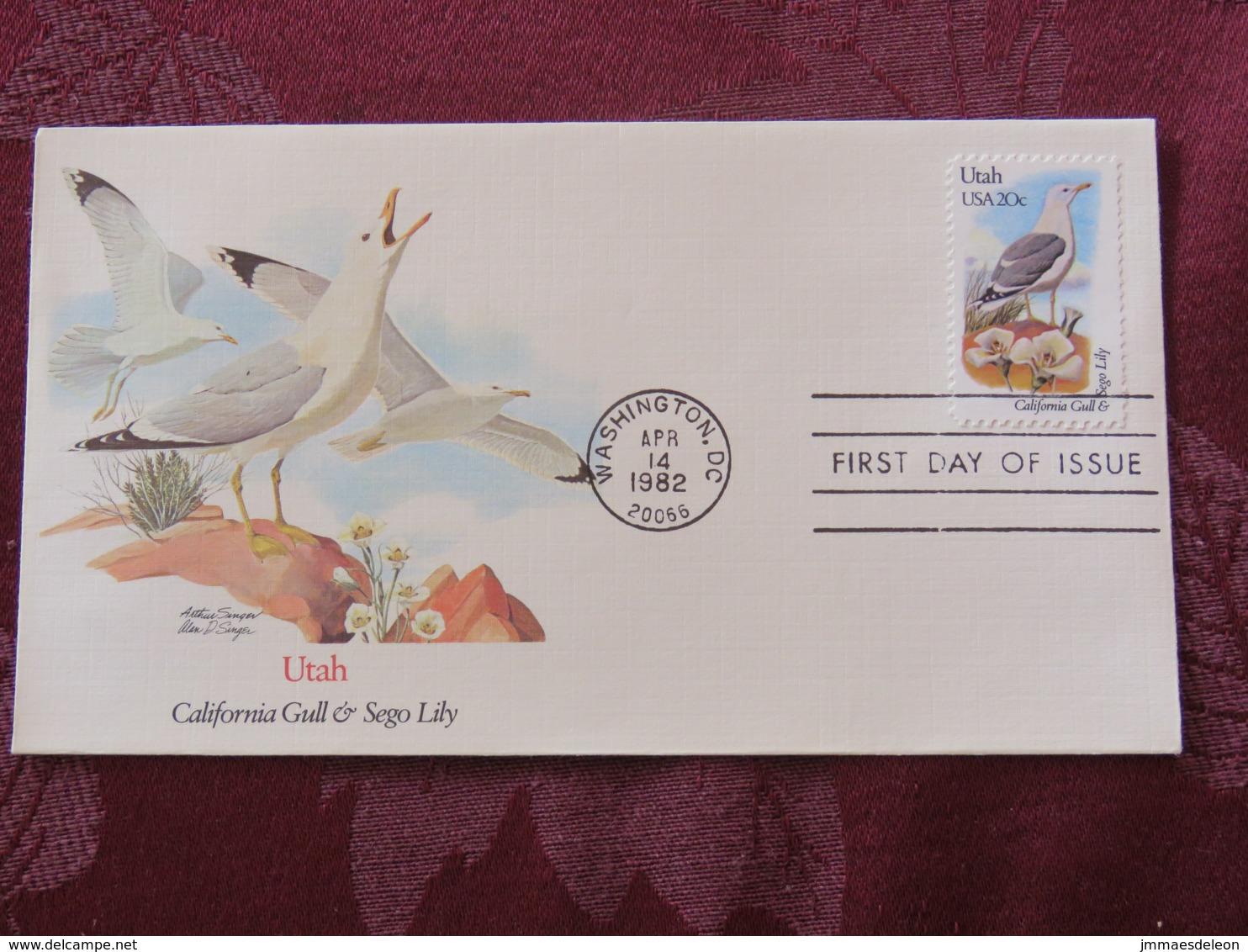 USA 1982 FDC Cover Washington - Utah State Bird And Flower - Gull - Lily - Etats-Unis