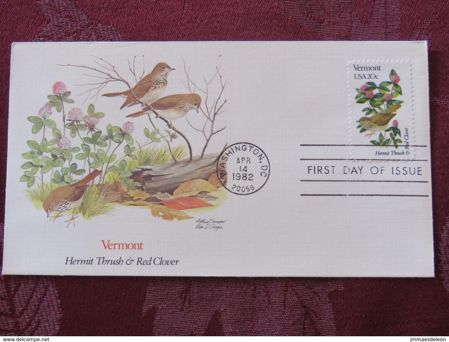 USA 1982 FDC Cover Washington - Vermont State Bird And Flower - Etats-Unis