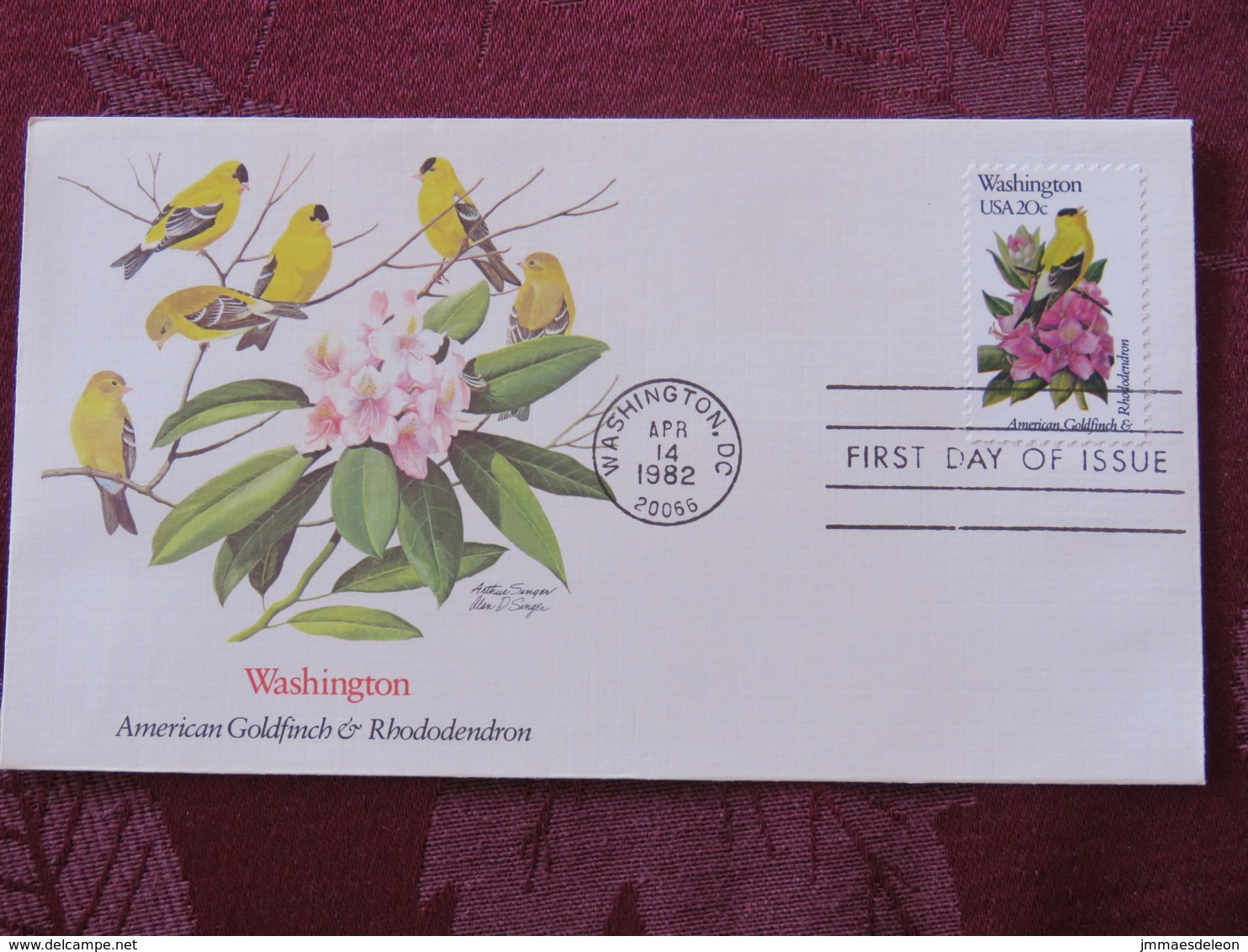 USA 1982 FDC Cover Washington - Washington State Bird And Flower - Goldfinch - Rhododendron - Lettres & Documents
