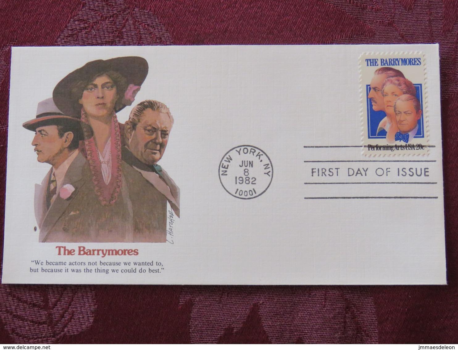 USA 1982 FDC Cover New York - The Barrymores - Actors Cinema Movie - Etats-Unis