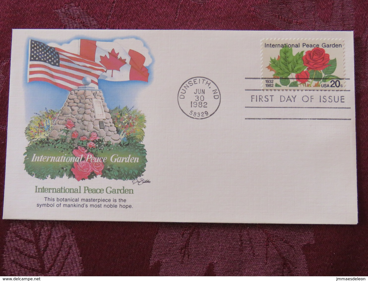 USA 1982 FDC Cover Dunseith - International Peace Garden - Canada - Roses - Lettres & Documents