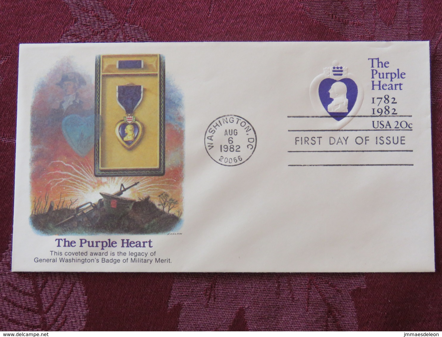 USA 1982 FDC Stationery Cover Washington - The Purple Heart - Medal To Military Merit - Legacy Of George Washington - Lettres & Documents