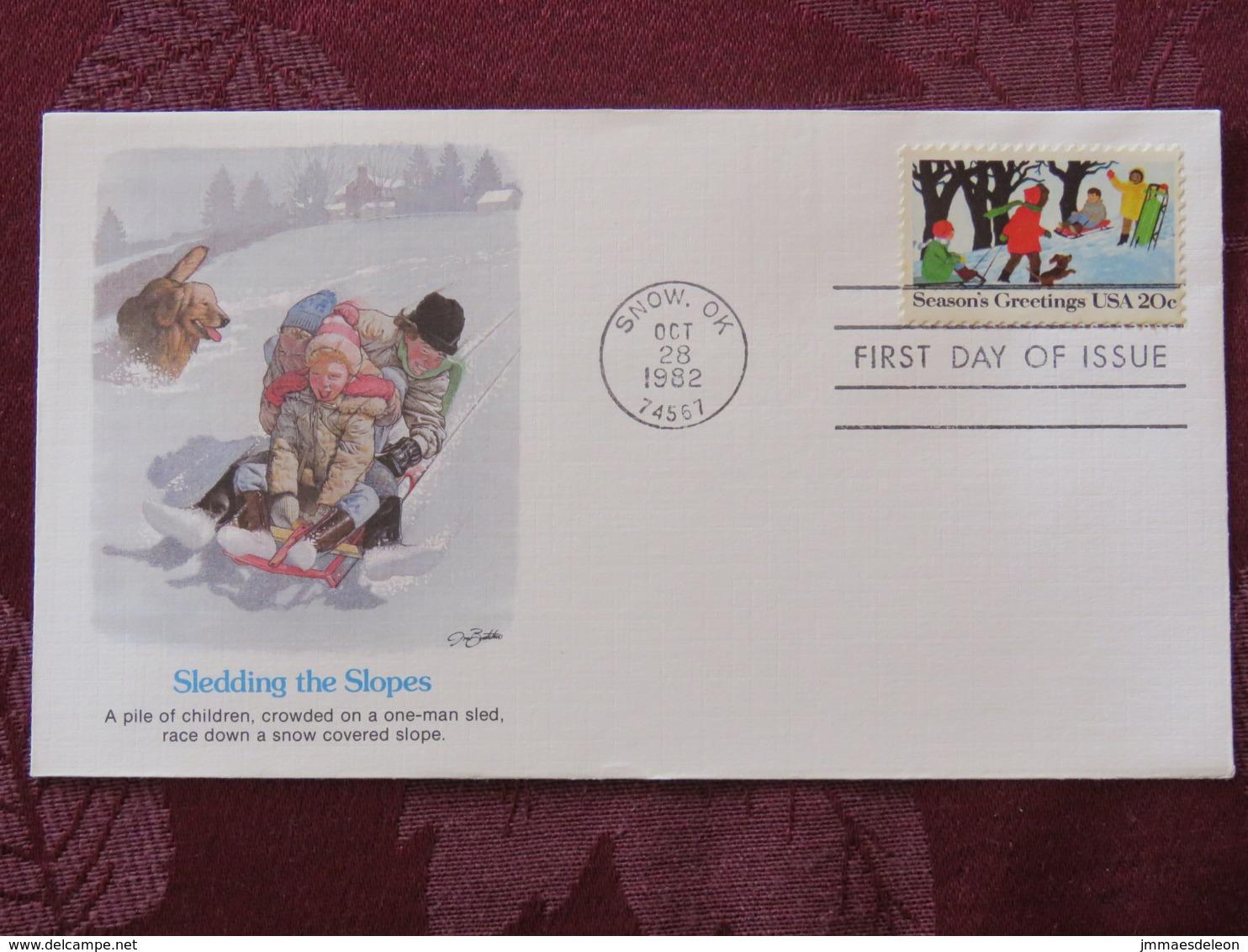 USA 1982 FDC Cover Snow - Season'sGreetings - Sledge - Dog - Etats-Unis