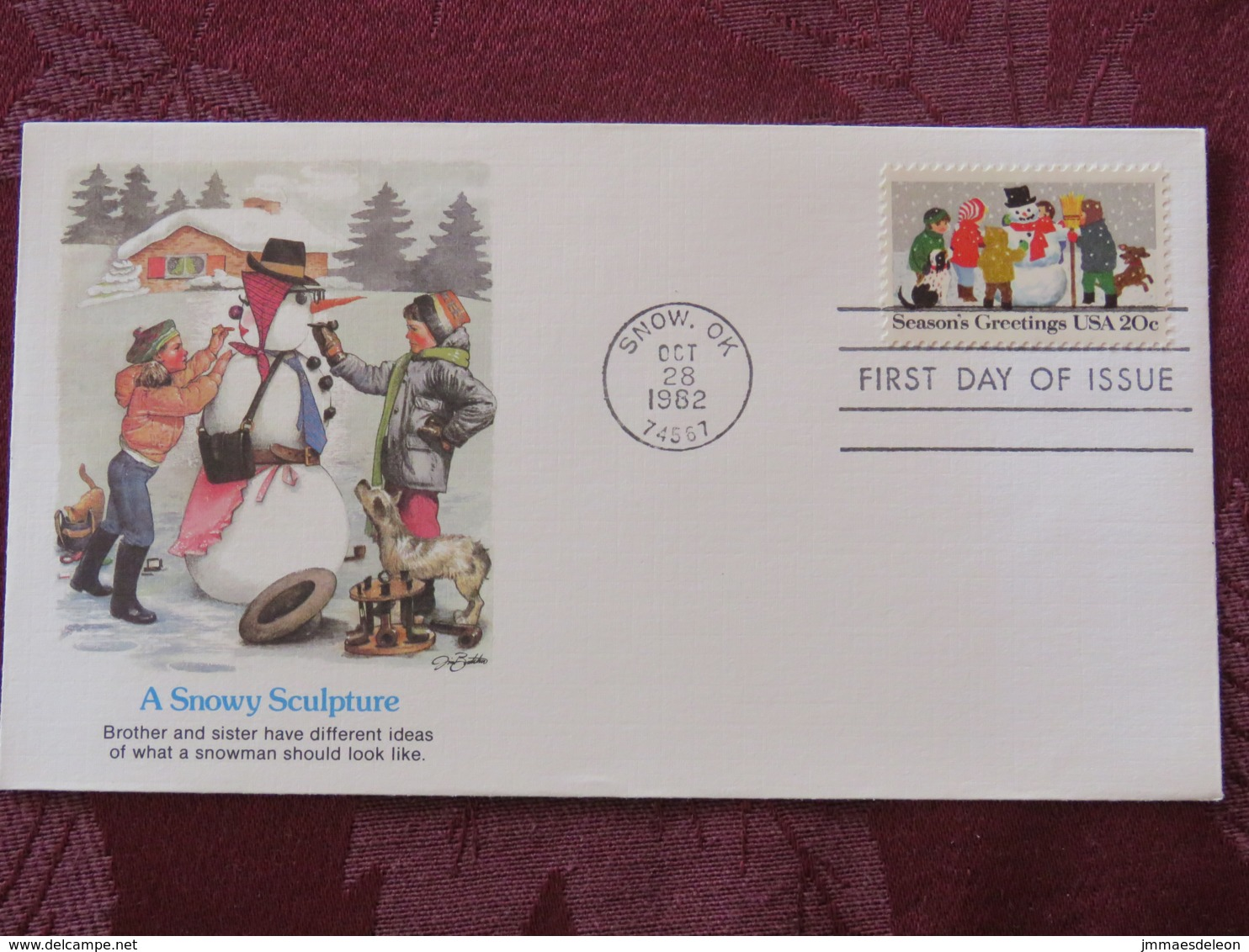 USA 1982 FDC Cover Snow - Season'sGreetings - Snowy Sculpture - Snow Man - United States