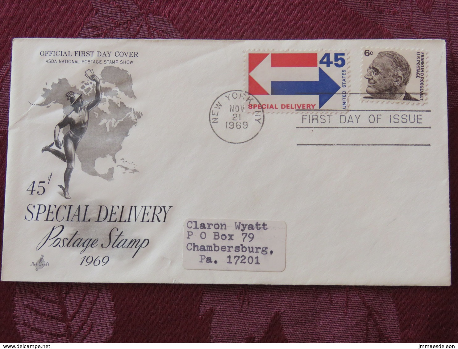 USA 1982 FDC Cover New York - Franklin Roosevelt - 45c Special Delivery Stamp - Mercury - Map - United States