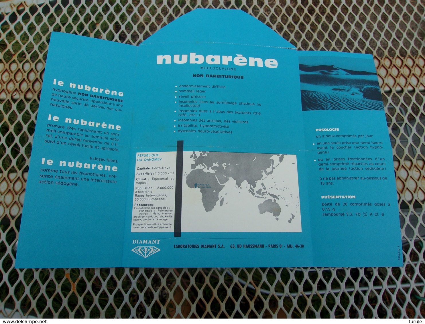 DAHOMEY (1964) PUB Nubarène (laboratoires Diamant) - Bénin – Dahomey (1960-...)