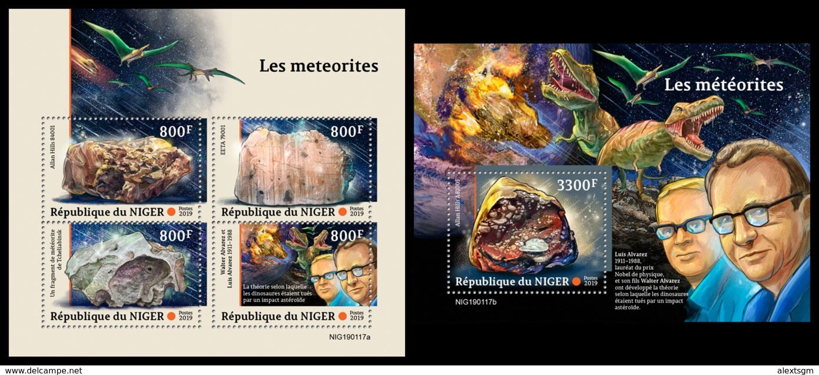 NIGER 2019 - Meteorites, Dinosaurs M/S + S/S. Official Issue - Prehistorisch