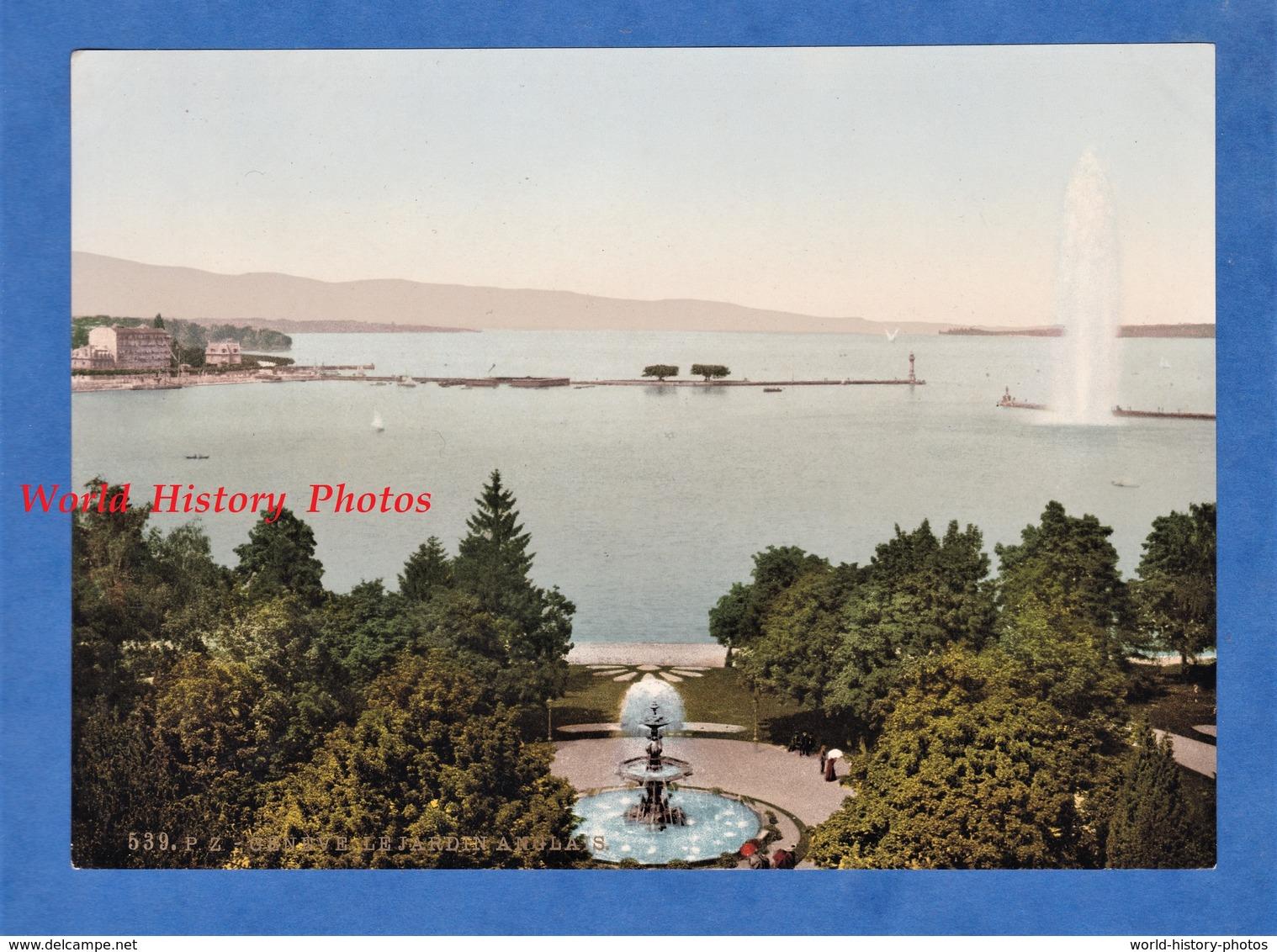 Photo Ancienne Photochrome - N° 539 P.Z. - GENEVE - Le Jardin Anglais- RARE - Lac Léman - Photochrom Zurich Suisse - Photos