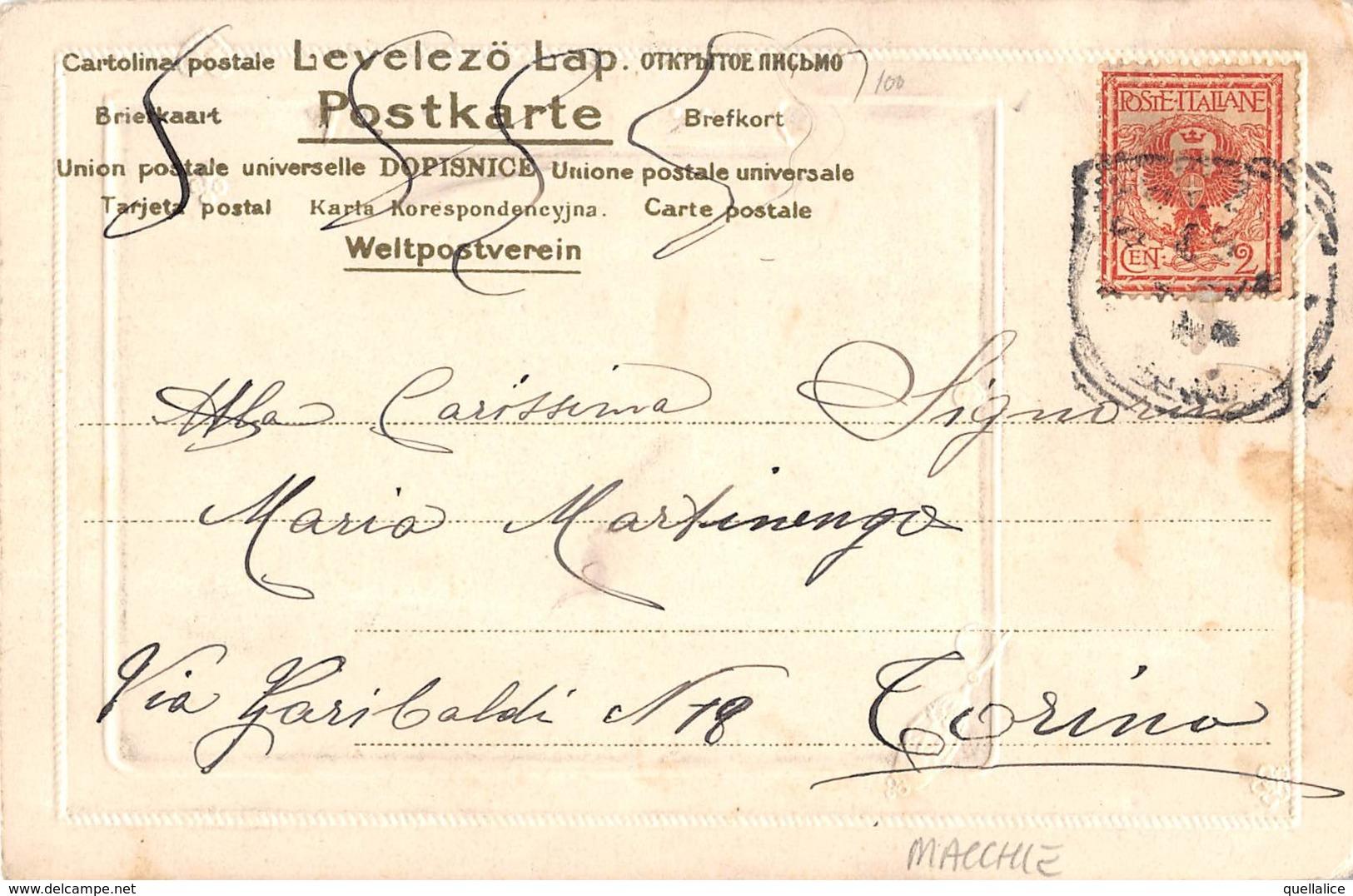 """1046  """"SPEZIA - VIALE SAVOIAS"""" ANIMATA, CARTOLINA DECORATA IN RILIEVO  CART  SPED 1904 - La Spezia"""