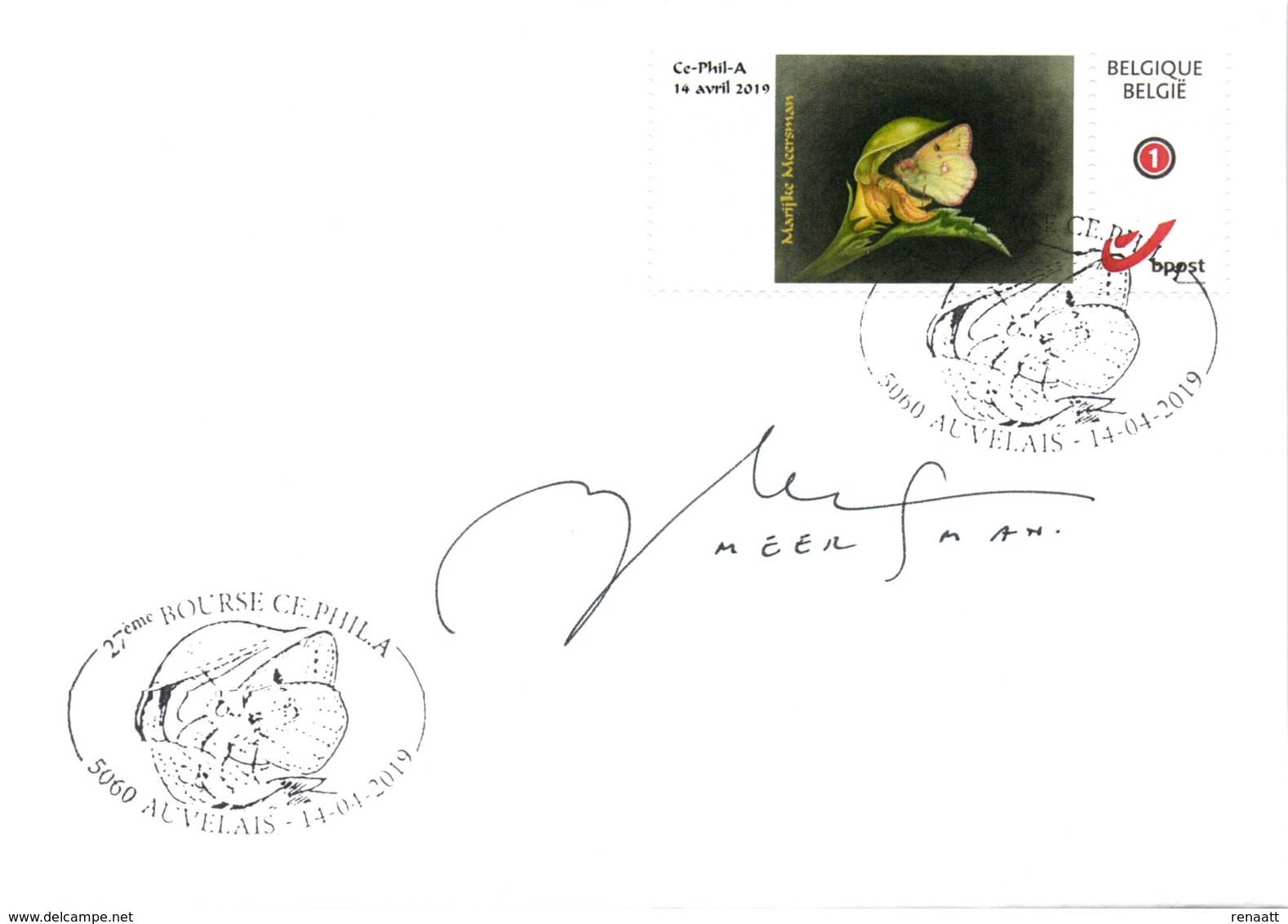 Belgium 2019 DuoStamp Meersman FDC Signed, Butterfly Pale Clouded Yellow, Wild Plant Yellow Archangel - Farfalle