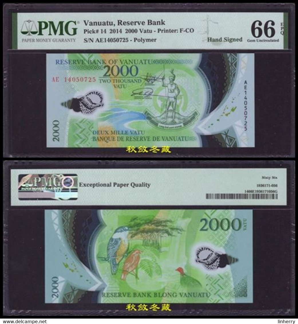 Vanuatu 2000 Vatu(2014), Handsigned, Commemorative AE Last Prefix, #759, Polymer - Vanuatu