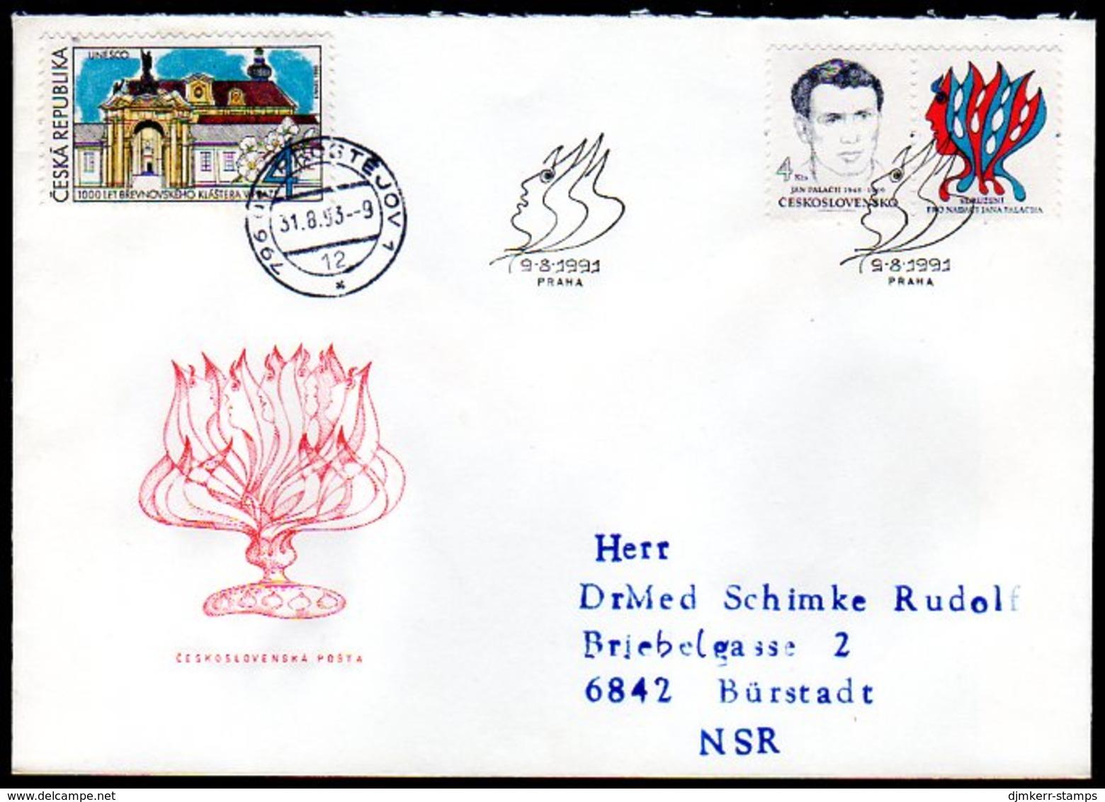 CZECHOSLOVAKIA 1991 Jan Palach Foundation FDC.  Michel 3091-92 - FDC