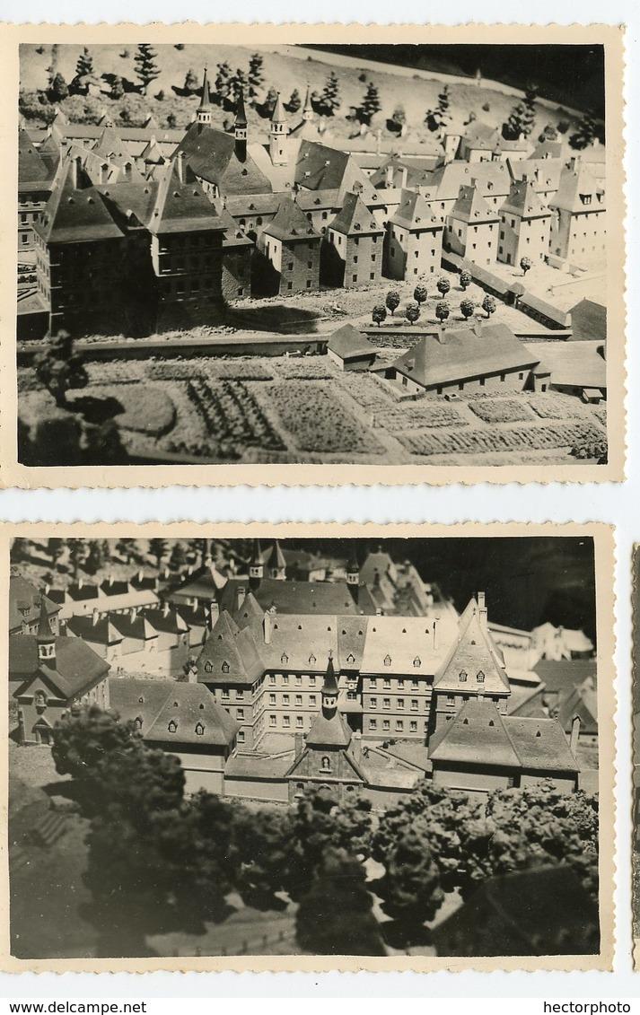 Lot 2 Photos Maquette Architecture Chateau à Situer Identifier Couvent Eglise Model Scale Etrange Bizarre Surreal Beauty - Altri