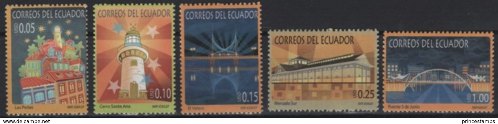 Ecuador (2007) Yv. 2062/66  /  Leuchtturm - Faro - Phares - Lighthouses - Bridges - Ponts - Vuurtorens