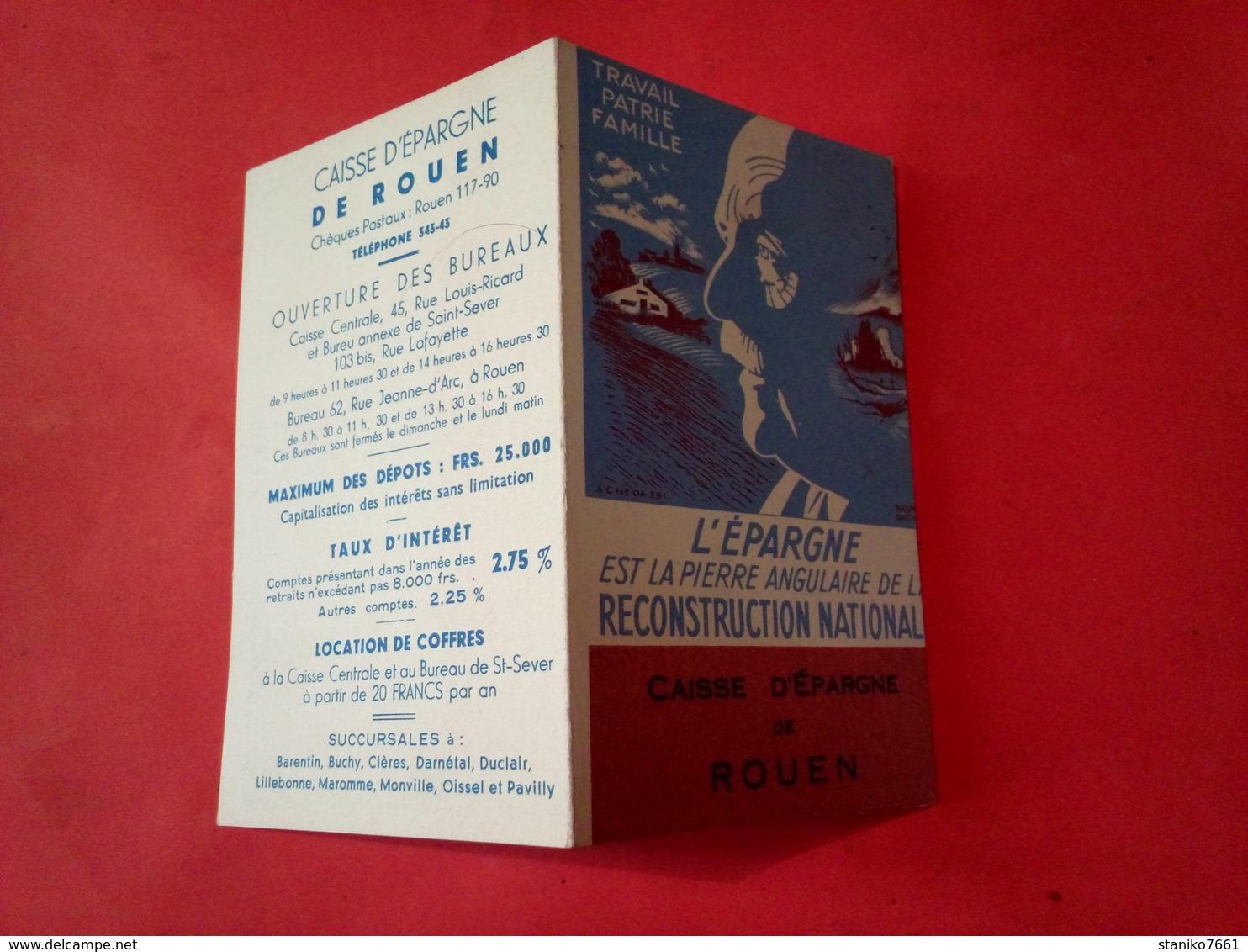 Petit CALENDRIER PÉTAIN 1942 CAISSE D'ÉPARGNE DE ROUEN  TRAVAIL PATRIE FAMILLE FAUTE Et Défaut D'impression - Calendriers