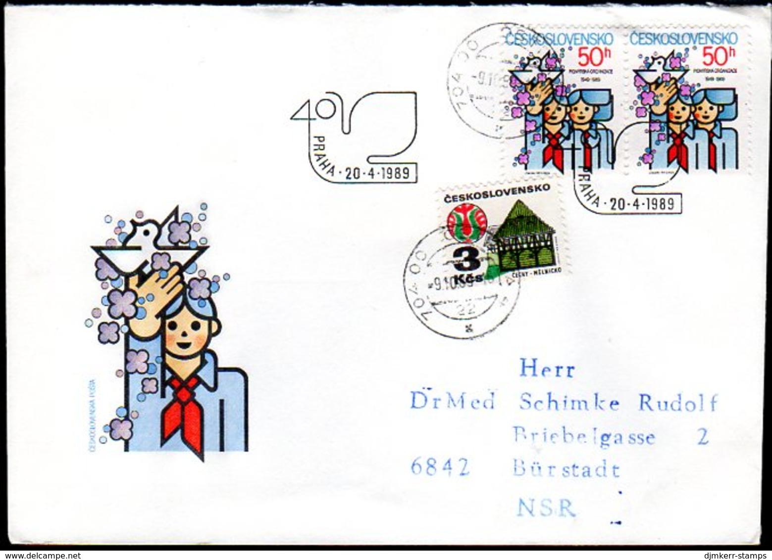 CZECHOSLOVAKIA 1989 Socialist Youth Pioneers FDC   Michel 3000 - FDC
