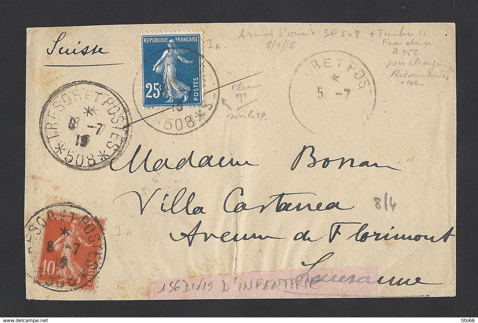 Semeuse 25c Bleu Et 10c Rouge Sur Devant D' Enveloppe Trésor Et Postes 508 Régiment D' Orient 8/7/1915 Vers Suisse - Postmark Collection (Covers)