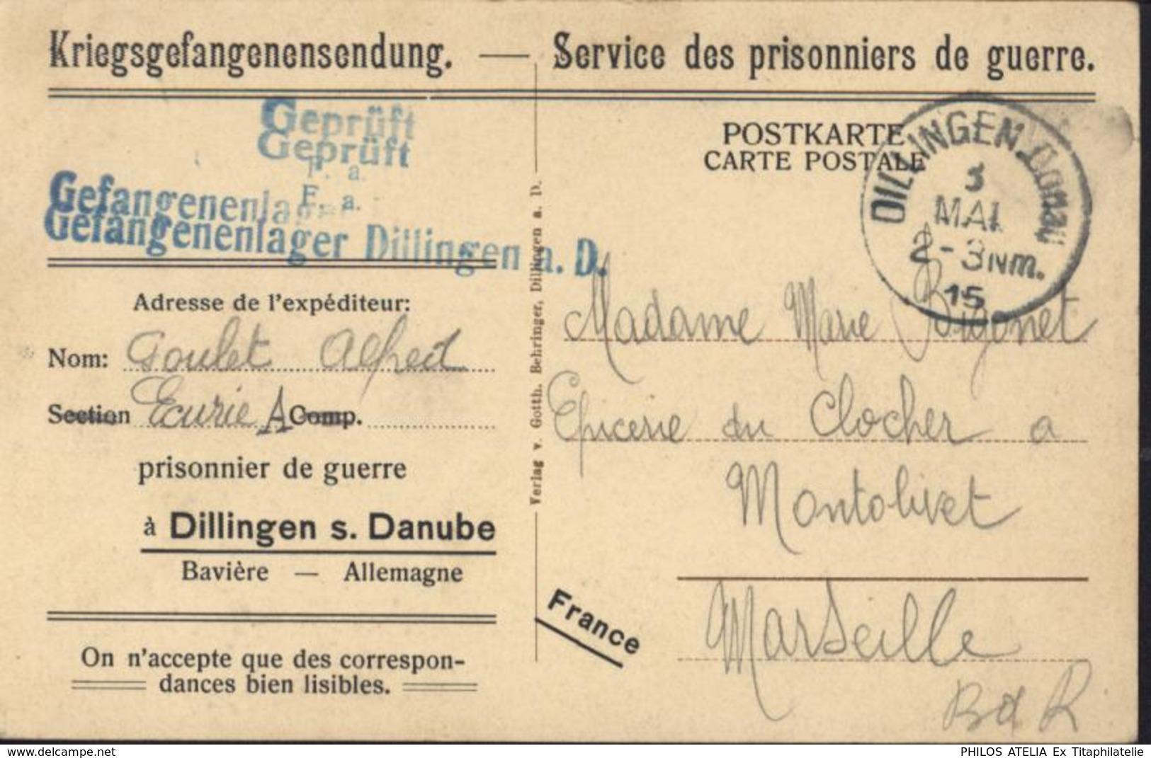 Guerre 14 CP Dillingen Schloss CP Repiquée Service Prisonniers De Guerre PG Dillingen S Danube Bavière Censure écuries - WW I