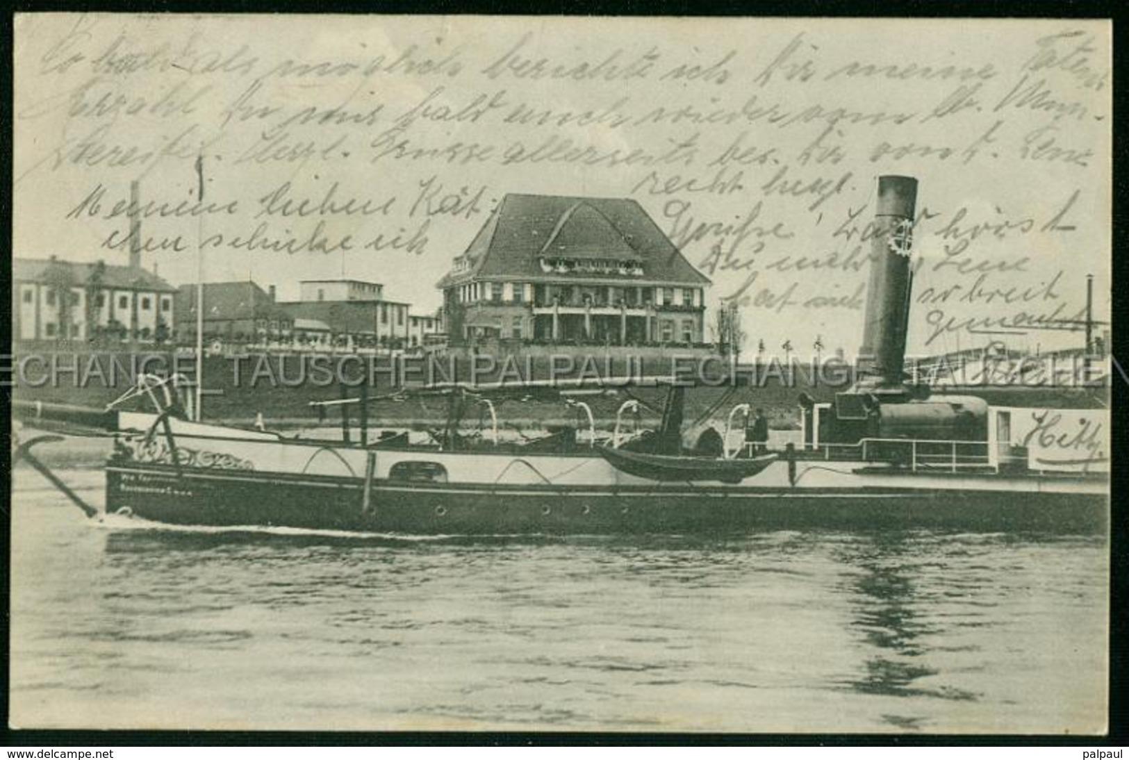 Krefeld Wilh SÖFFKER Hafen Restaurant Rheingold Linn Dampfboot Rheinschiff Schiff Binnenschiff - Krefeld