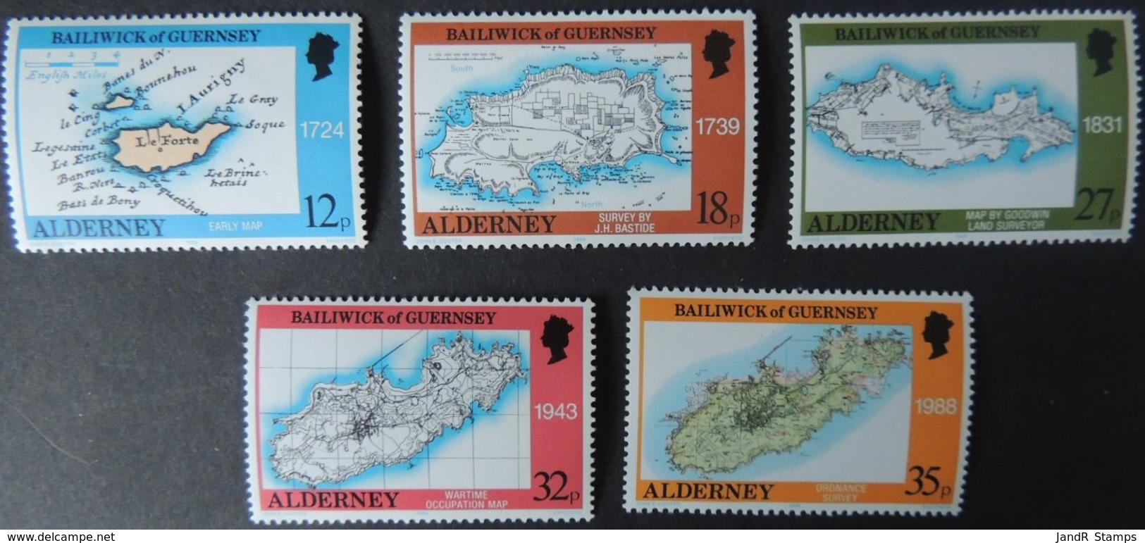 ALDERNEY 1989 MAPS SET OF 5 VALUES MNH A37-A41 ISLANDS - Alderney