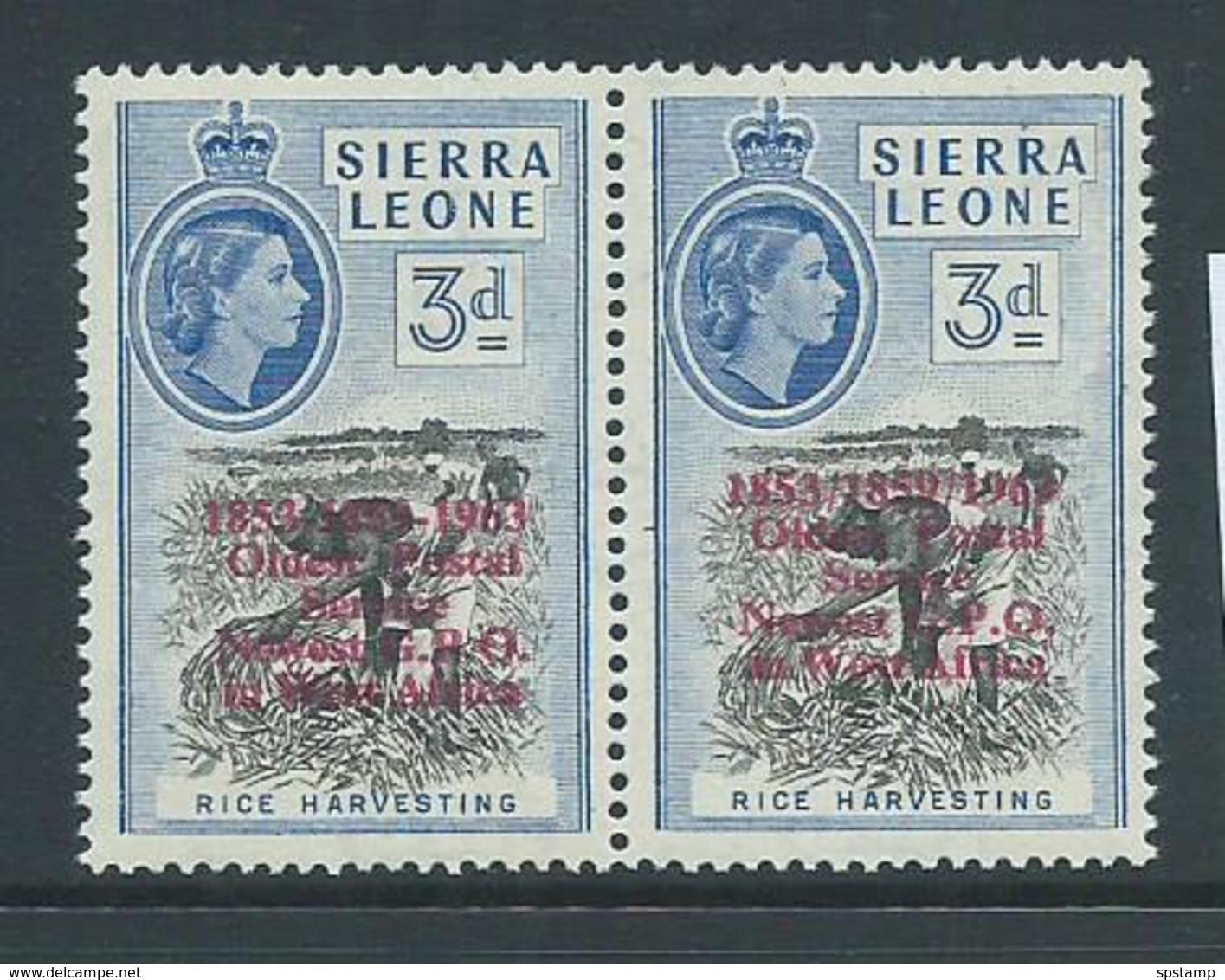 "Sierra Leone 1963 Postal Anniversary 3d  "" Forward Slash For Hyphen "" Variety MLH - Sierra Leone (1961-...)"