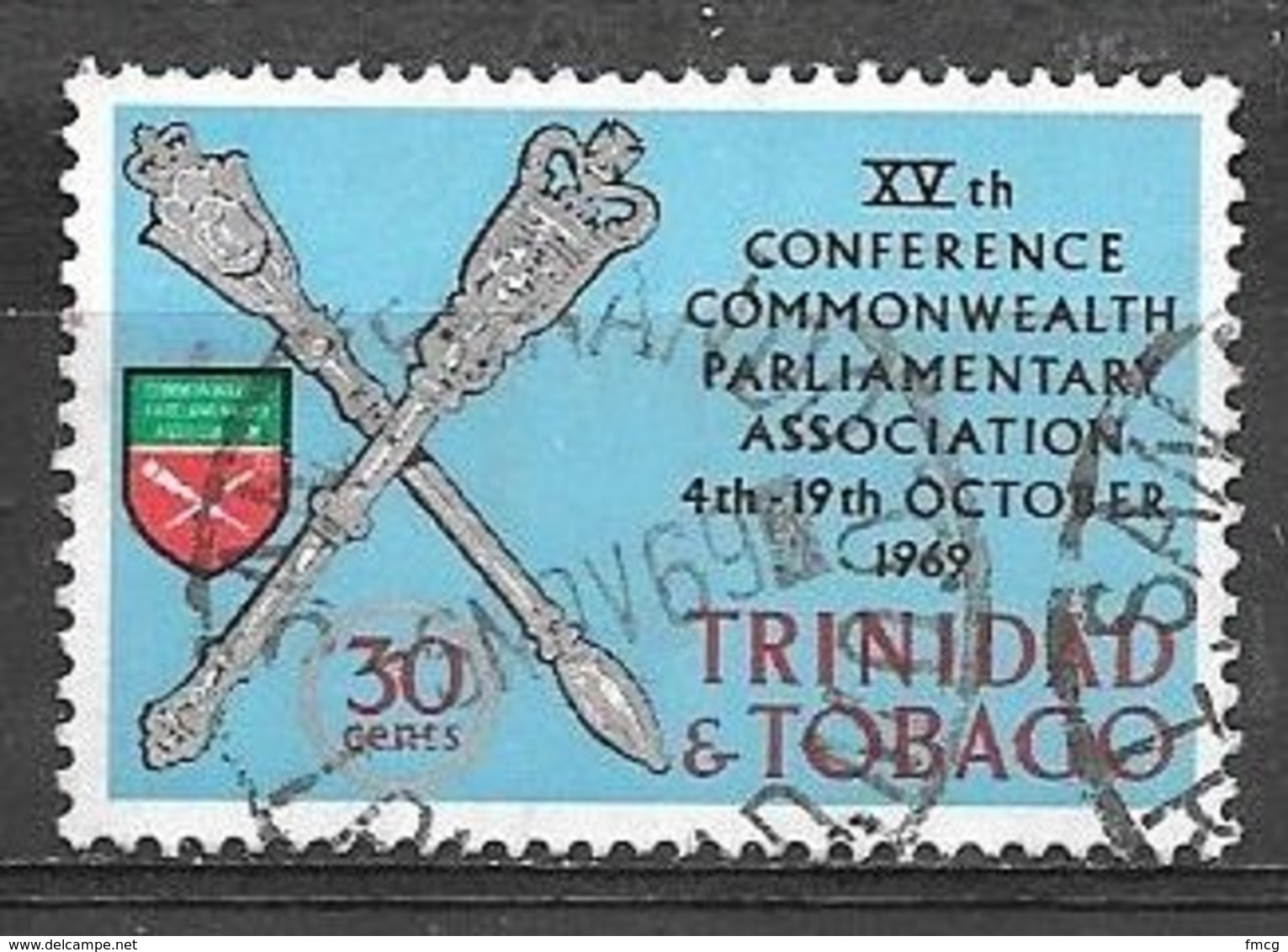 1969 30 Cents Conference Of Commonwealth Parliamentary Association, Used - Trinidad & Tobago (1962-...)
