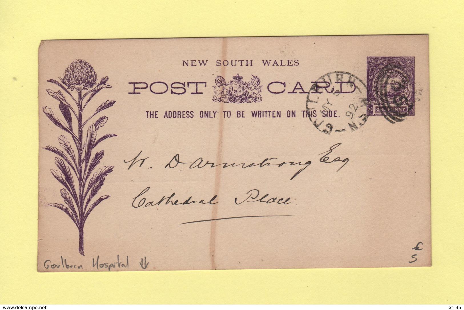 Nouvelle Galles Du Sud - Entier Postal Repique Goulburn Hospital - 1892 - Luftpost & Aerogramme