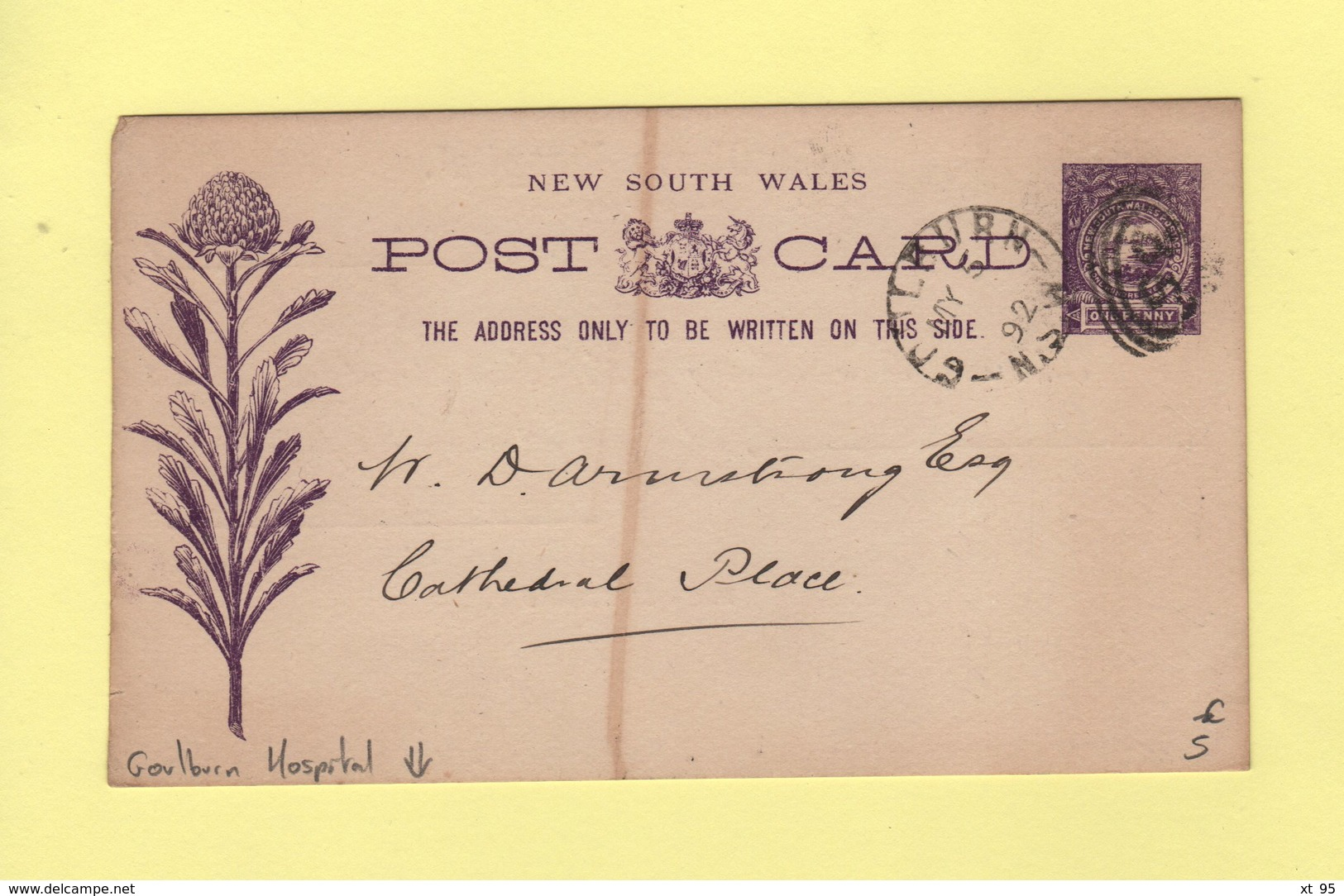 Nouvelle Galles Du Sud - Entier Postal Repique Goulburn Hospital - 1892 - Postwaardestukken