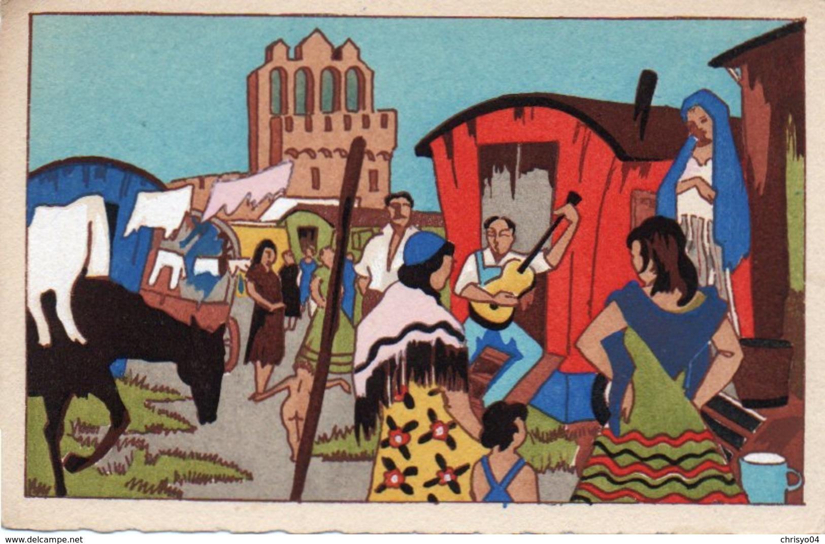 93Maj   Illustrateur Campement De Gitans Pour Le Pelerinage Annuel Aux Saintes Maries De La Mer - Illustrateurs & Photographes