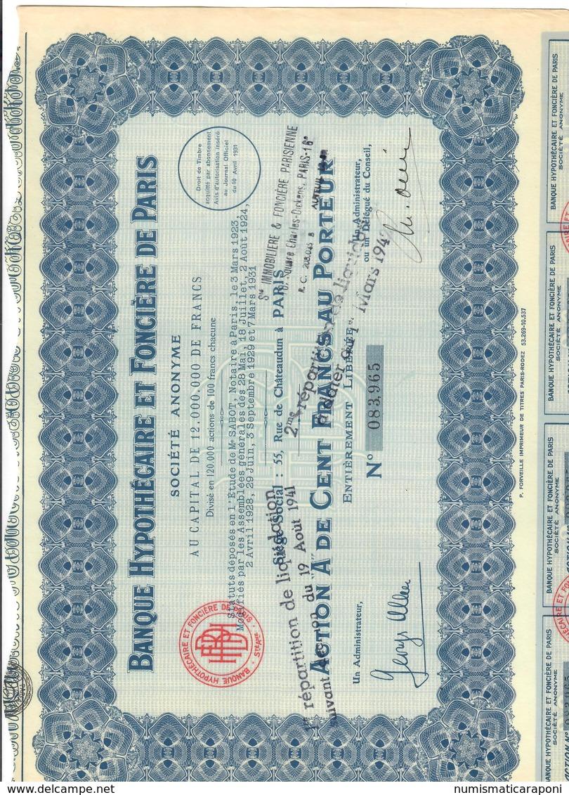 Banque Hypothécaire Et Fonciere De PARIS  20 CEDOLE Doc.291 - Altri