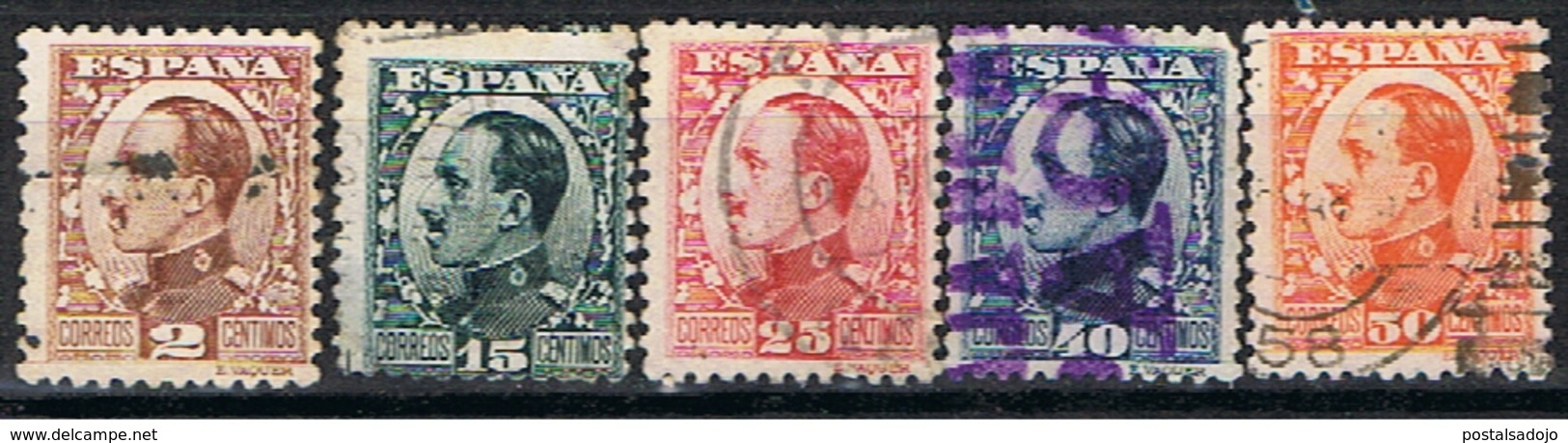 (E 675) ESPAÑA //  EDIFIL 490, 493, 495, 497, 498 //  1930-31 - 1889-1931 Royaume: Alphonse XIII