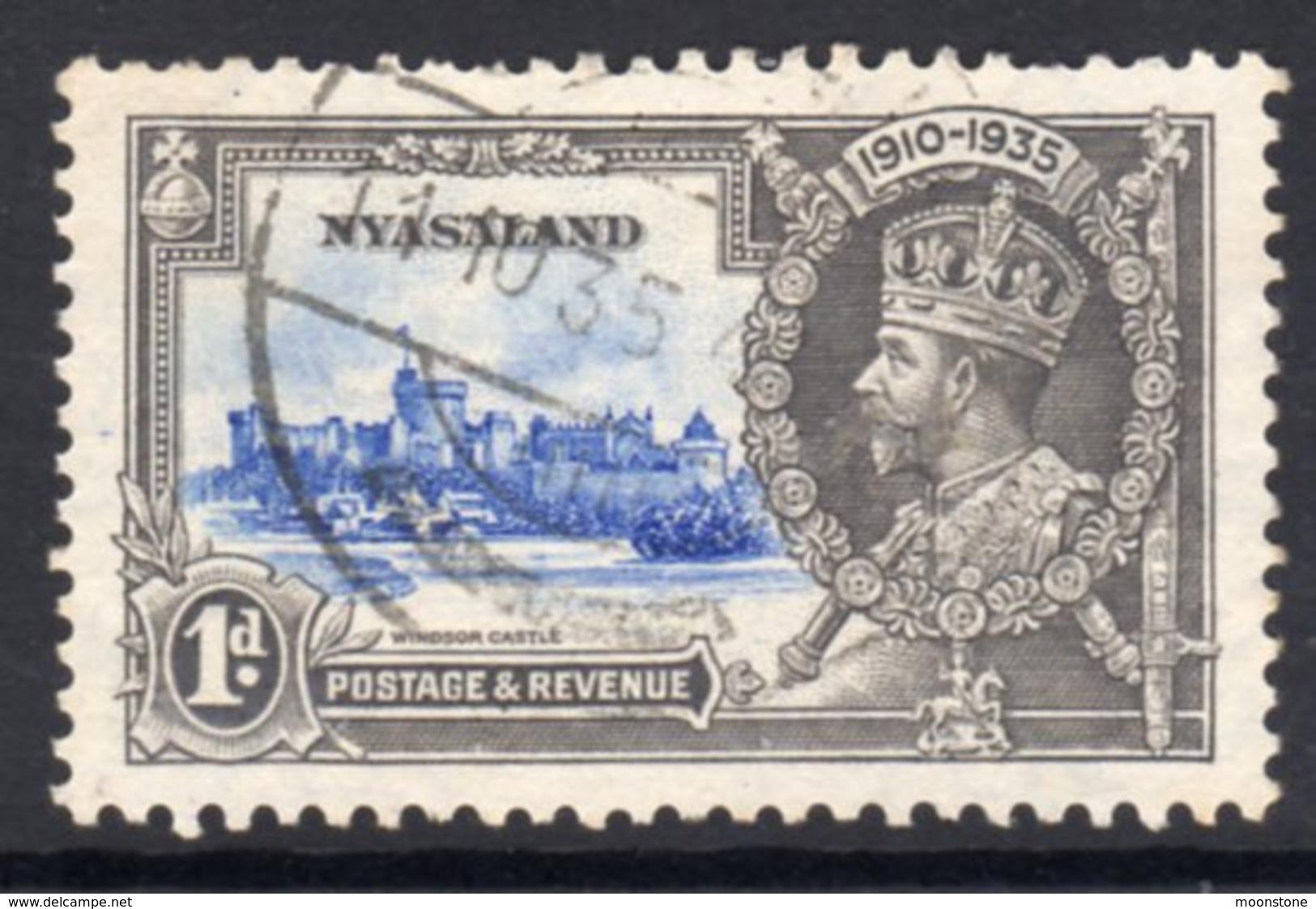 Nyasaland GV 1935 Silver Jubilee 1d Value, Used, SG 123 (A) - Nyasaland (1907-1953)