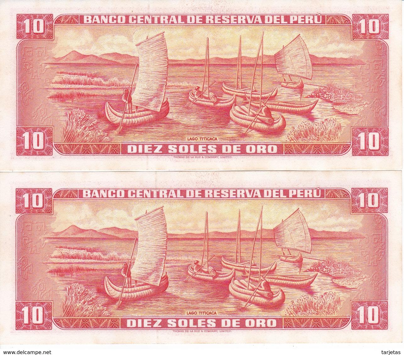 PAREJA CORRELATIVA DE PERU DE 10 SOLES DE ORO DEL AÑO 1973 EN CALIDAD EBC (XF) (BANKNOTE) - Perú