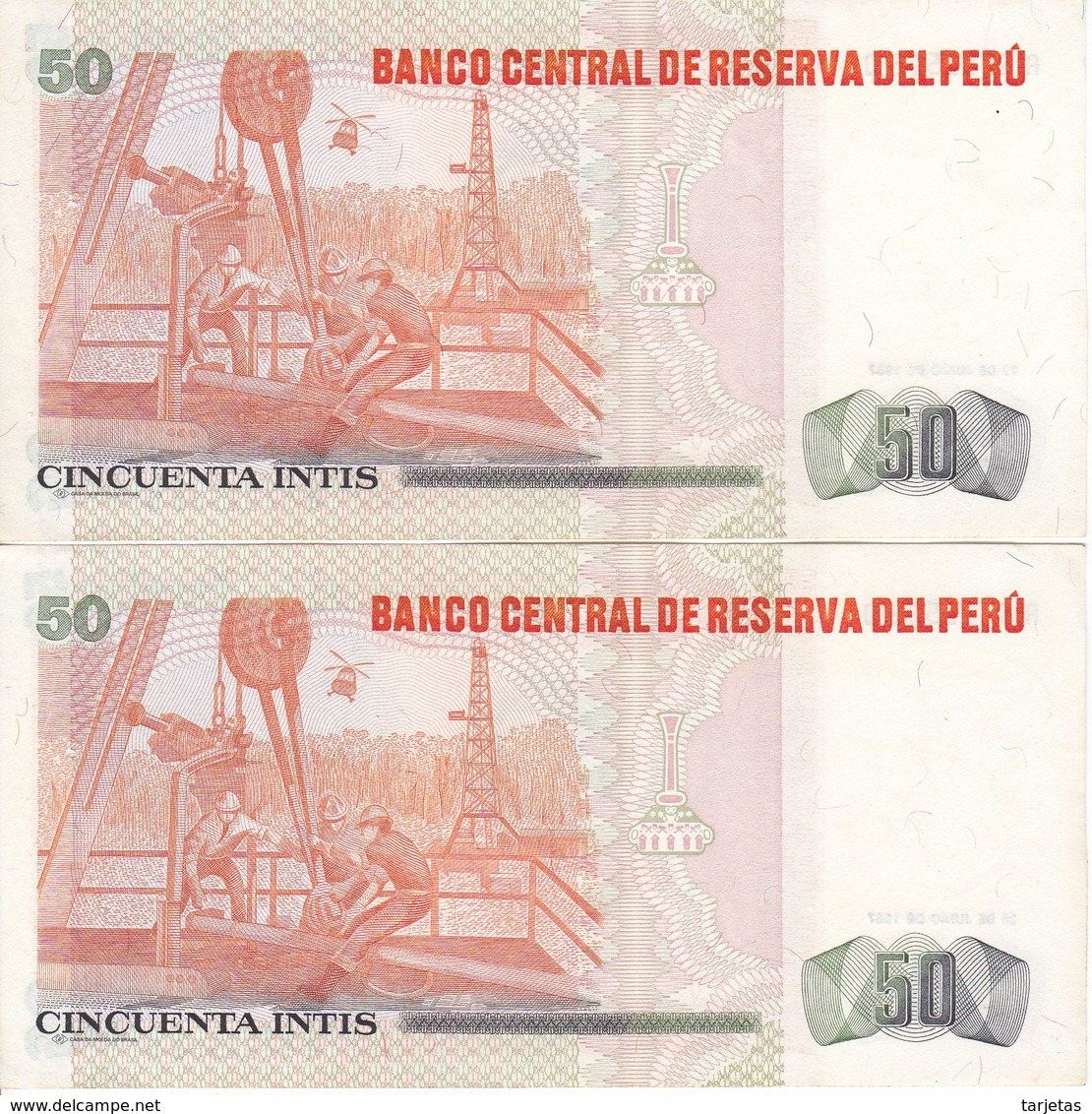 PAREJA CORRELATIVA DE PERU DE 50 SOLES DE ORO DEL AÑO 1987 SIN CIRCULAR - UNCIRCULATED (BANKNOTE) - Perú