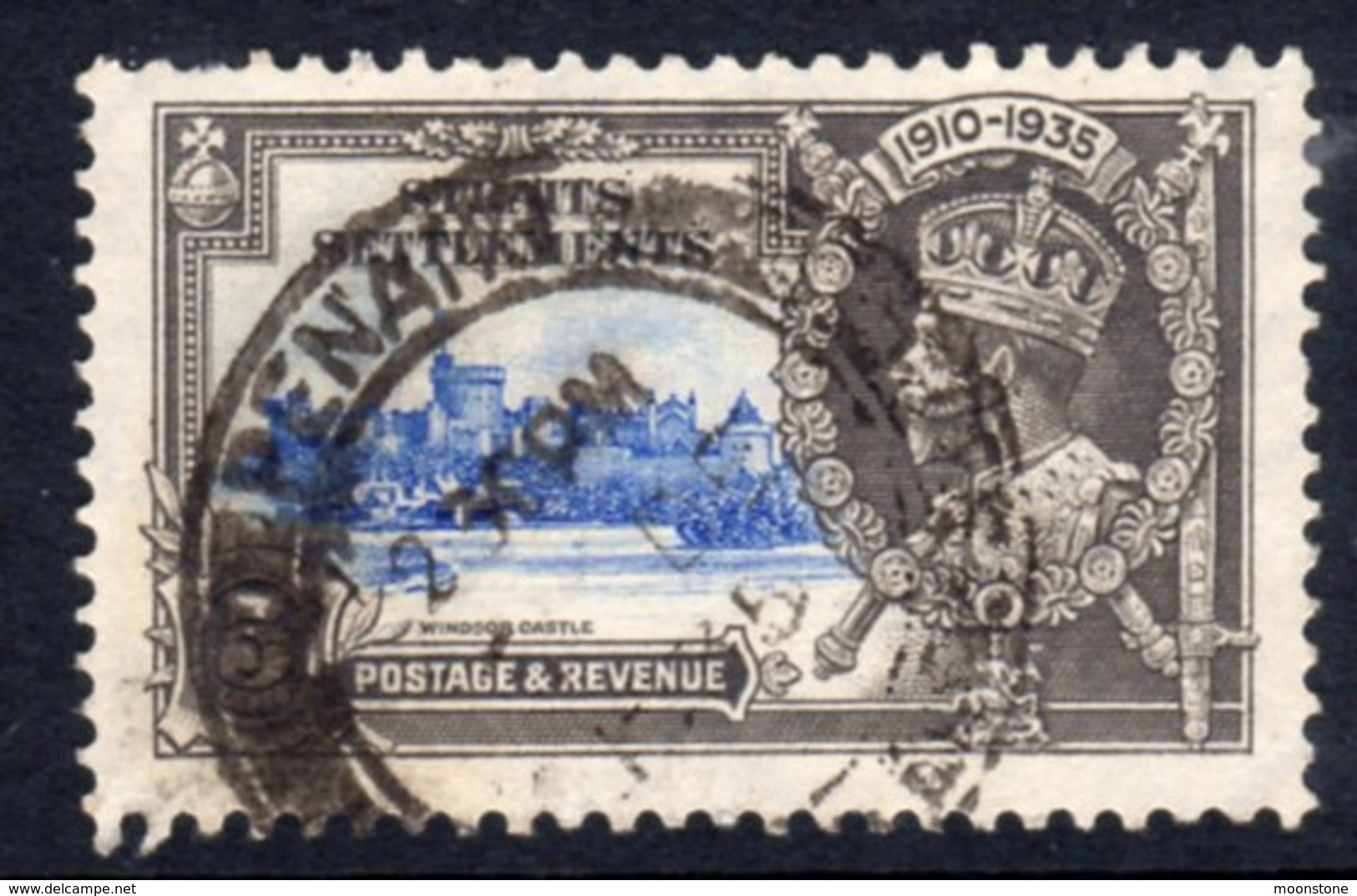 Straits Settlements GV 1935 Silver Jubilee 5c Value, Used, SG 256 (A) - Straits Settlements