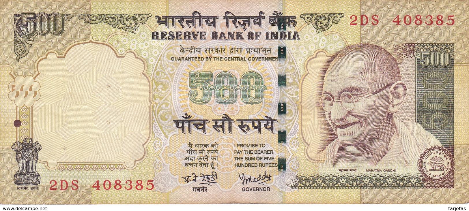 BILLETE DE LA INDIA DE 500 RUPEES DEL AÑO 2007   (BANKNOTE) DIFERENTES FIRMAS - India