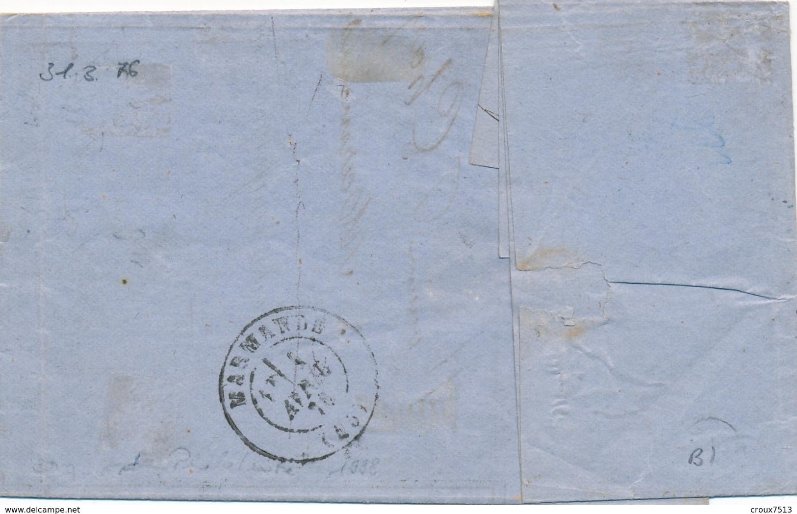 31 Mars 1876 10c Et 40 C S LAC Signée Calves TTB. - 1871-1875 Ceres