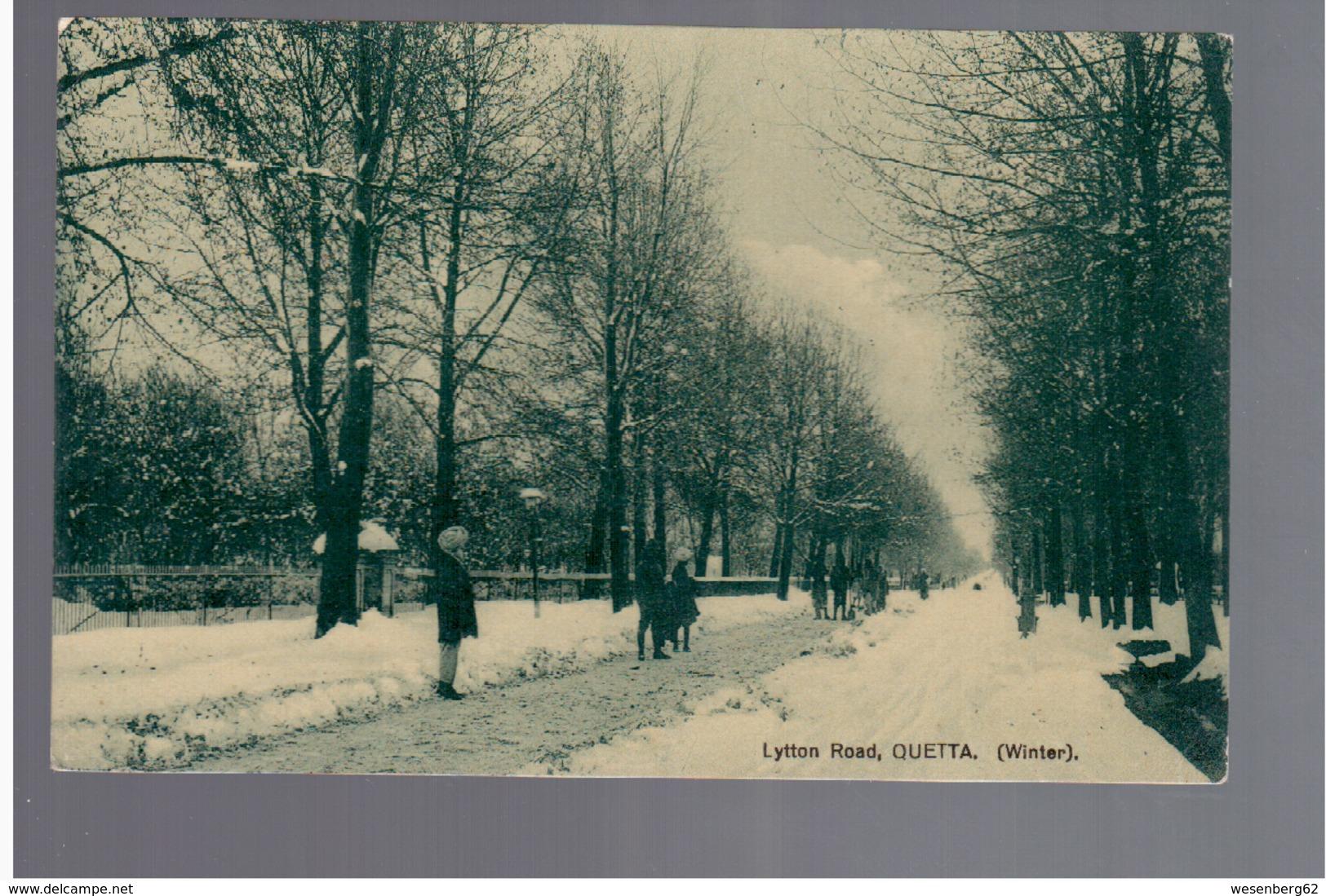 PAKISTAN Quetta, Lytton Road (Winter) Ca 1920 OLD POSTCARD - Pakistan