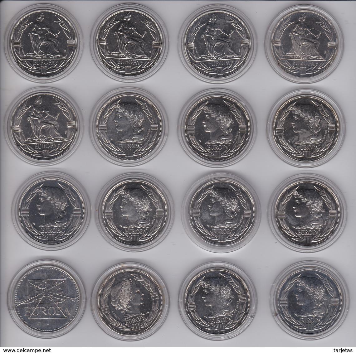 COLECCION COMPLETA DE 16 MONEDAS DE FRANCIA DE ECU DE EUROPA DE LOS AÑOS 1980 A 1995 NUEVAS - Collections