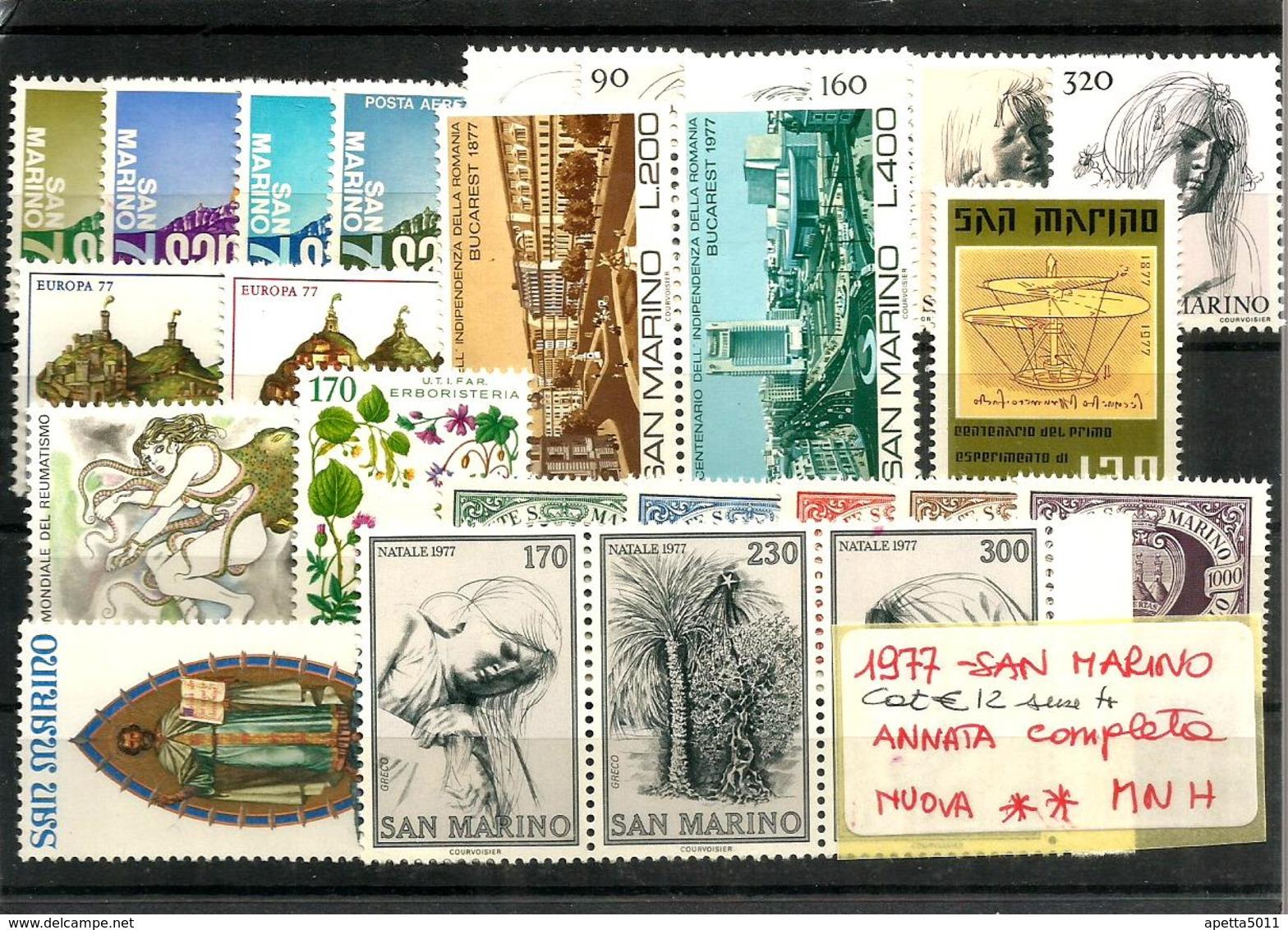 1977 SAN MARINO Annata Completa Nuova ** MNH - Nuovi