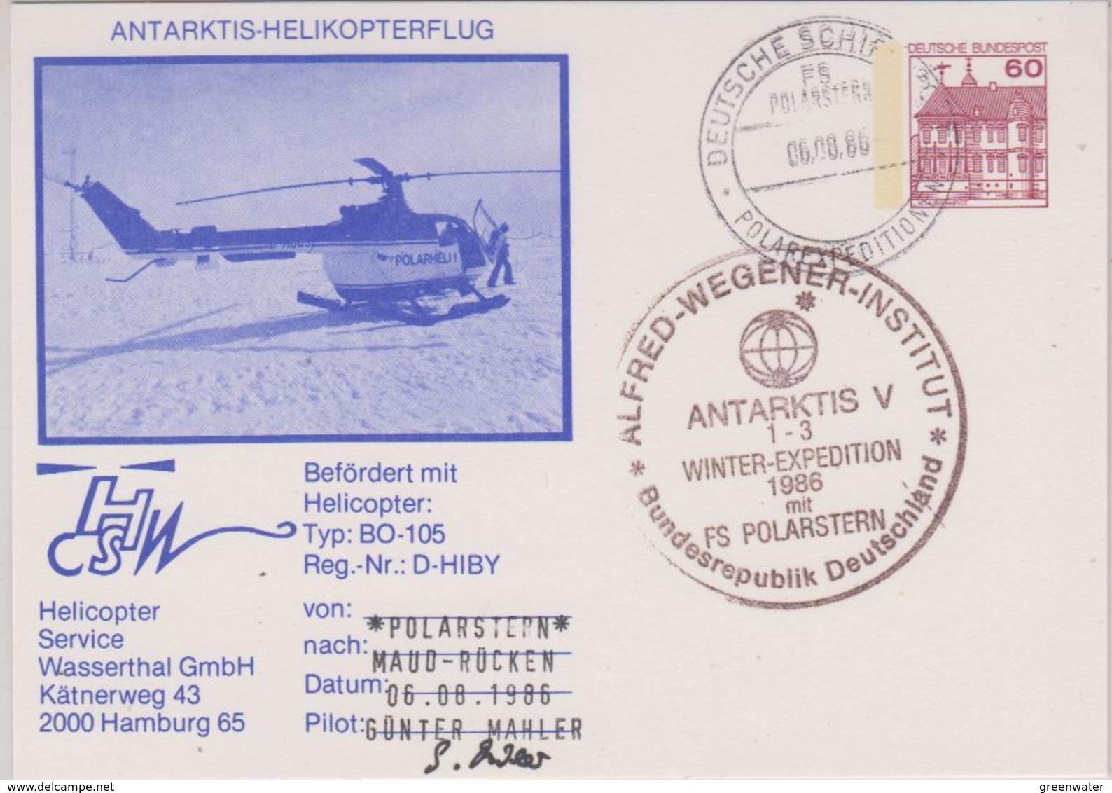 Germany 1986 Heli Flight Polarstern Nach Maud-Rücken Si Pilot Postcard Ca 6.8.86 (42459) - Polar Flights