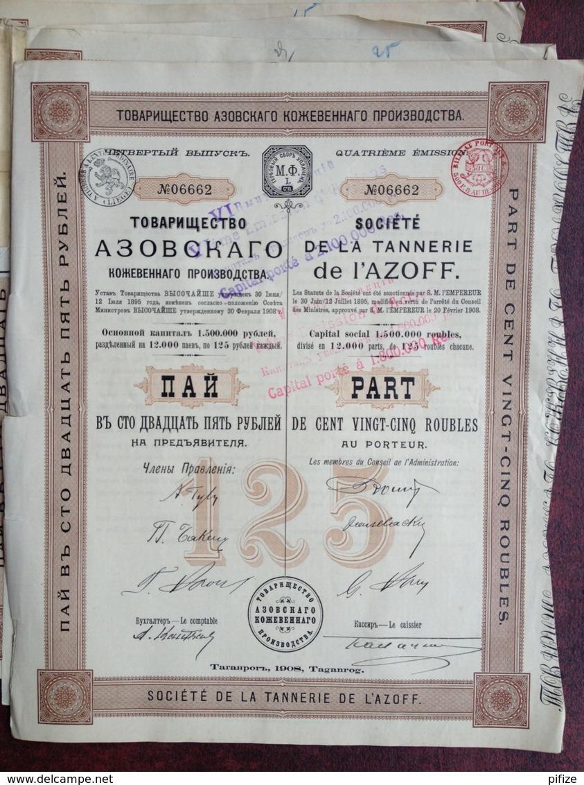 Société De La Tannerie De L'Azoff . 16 Parts De 125 Roubles Au Porteur . 1908 . Taganrog . - Russie