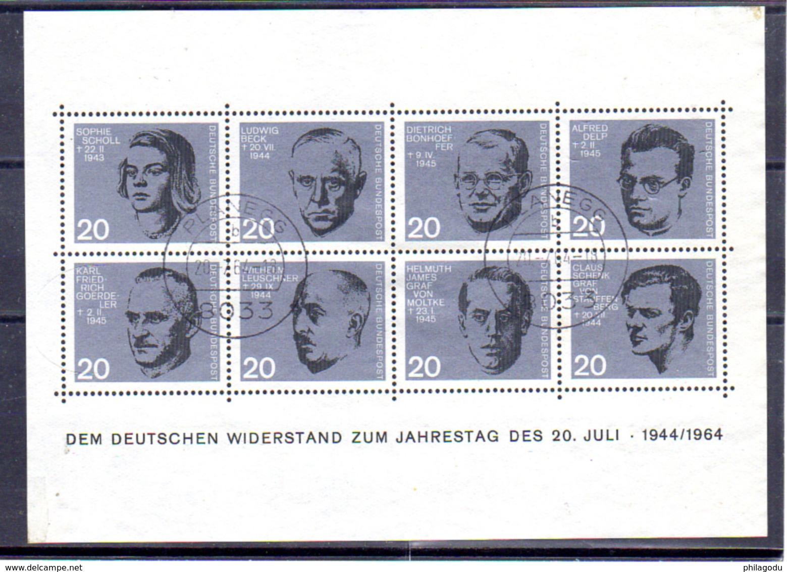 1964   RFA, 20 Ans De L'attentat  Du 20/07/1944, BF 2 Ob, Cote 26 €, - [7] Federal Republic