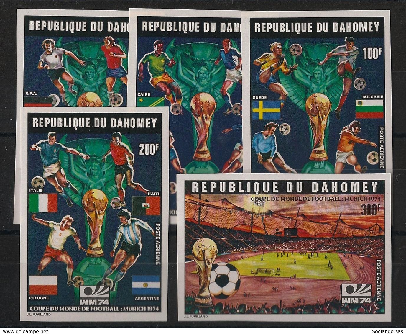Dahomey - 1974 - PA N°Yv. 212A à 212E - Football WM74 - Non Dentelé / Imperf. - Neuf Luxe ** / MNH / Postfrisch - Coppa Del Mondo