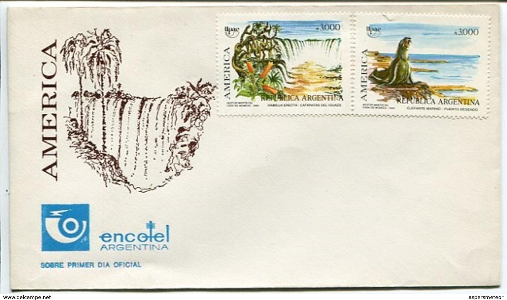 ENCOTEL - AMERICA . ARGENTINA 1990 SOBRE ENVELOPE FDC -LILHU - Vacaciones & Turismo