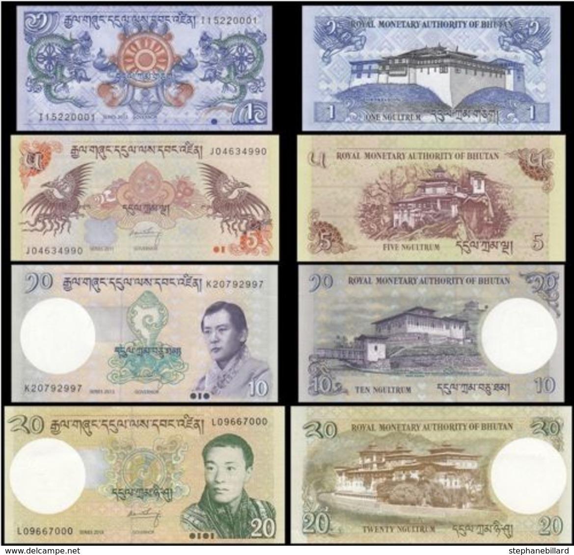 Bhoutan Lot De 4 Billets 1 + 5 + 10 + 20 Ngultrum UNC Set-2011-2015 - Bhoutan