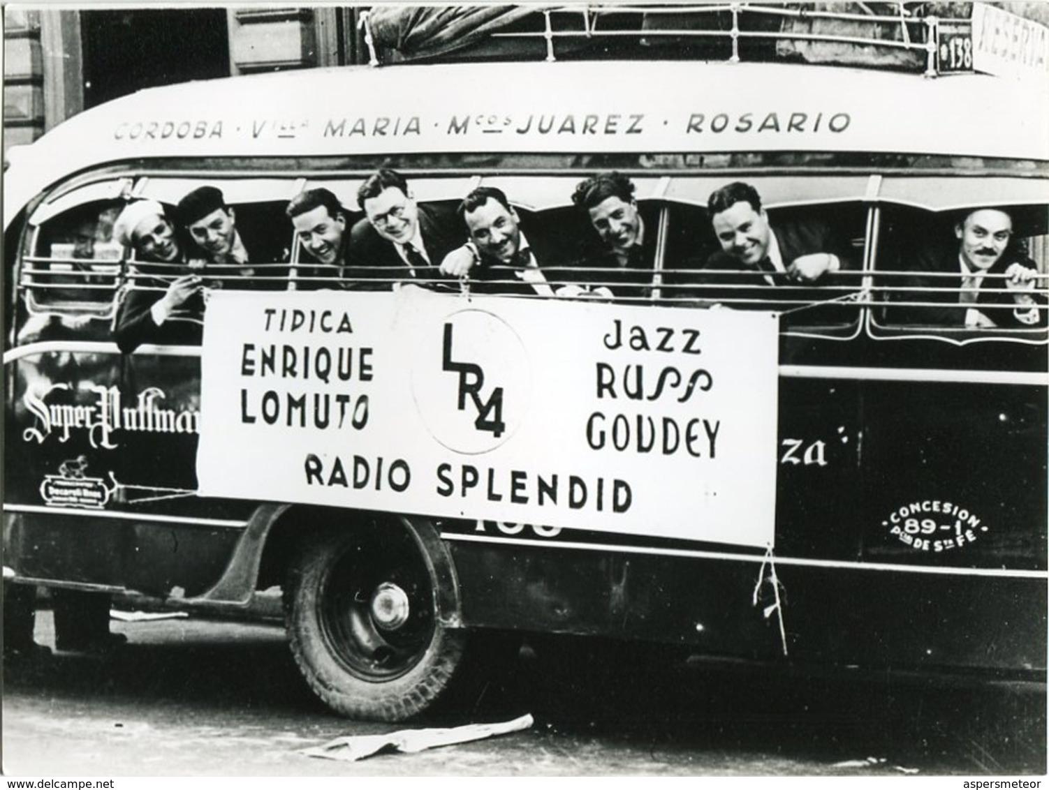 COLECTIVO DE TANGO ORQUESTA TIPICA ENRIQUE LOMUTO, RADIO SPLENDID. ARGENTINA CIRCA 1910's FOTO PHOTO - LILHU - Personalidades Famosas